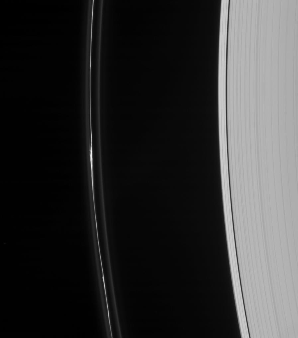 On Dec. 31, 2007, NASA's Cassini spacecraft captured an intriguing feature in the perturbed core of Saturn's F ring.