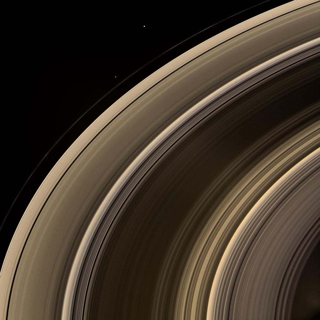 From on high, NASA's Cassini spacecraft spies a group of three ring moons in their travels around Saturn. Janus is seen at top, while Pandora hugs the outer edge of the narrow F ring. More difficult to spot is Pan, which is a mere speck in this view.