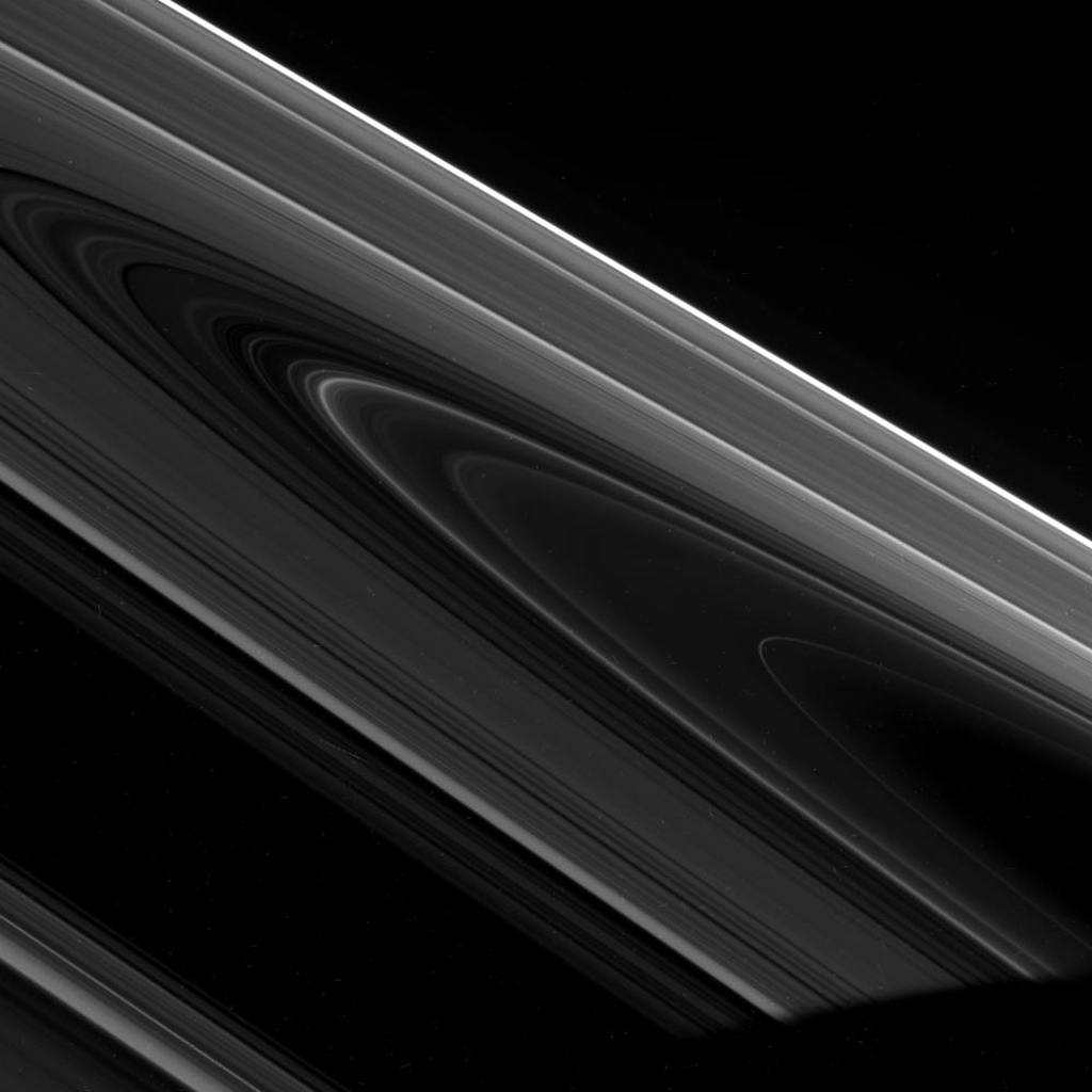 On Feb. 20, 2008, NASA's Cassini spacecraft captured this dramatic view of the unilluminated side of Saturn's rings seen at a high phase angle.