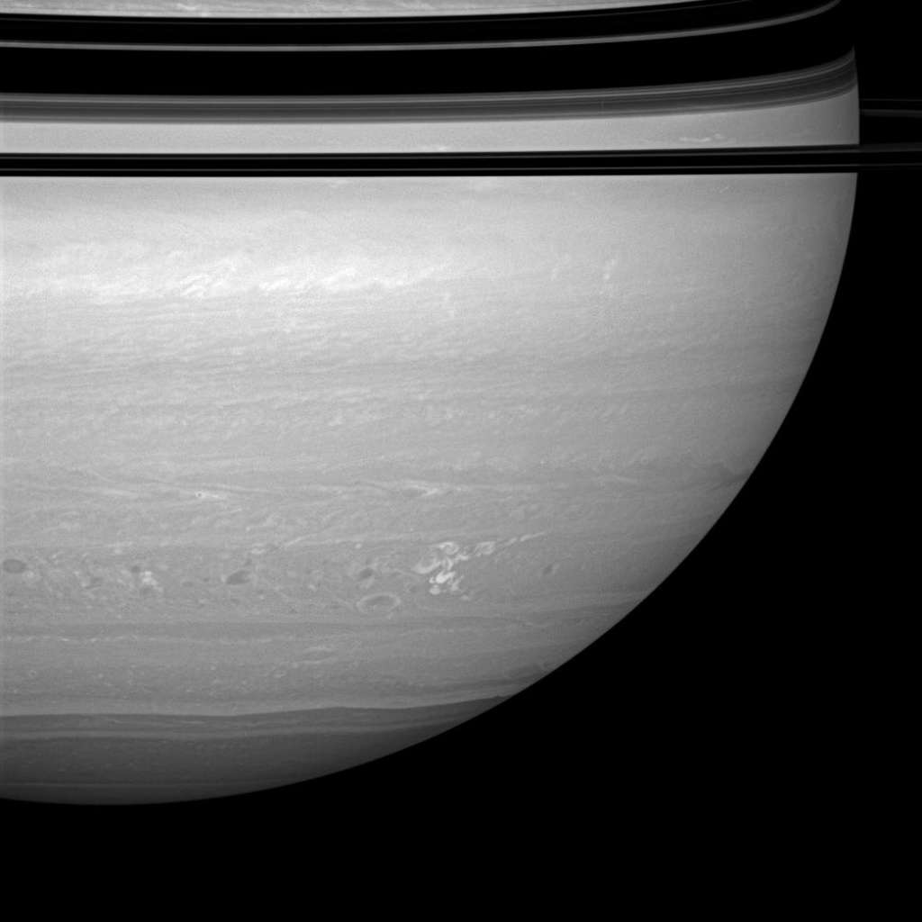 The longest-lived continuously monitored electrical storm ever observed on Saturn continues to churn through the tempest-tossed region nicknamed 'Storm Alley.' This image was taken with NASA's Cassini spacecraft's wide-angle camera on April 23, 2008.