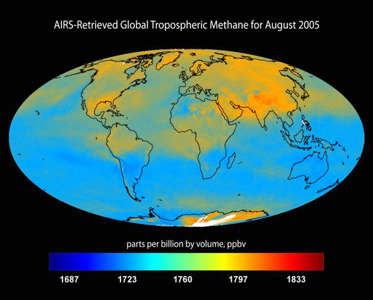 Global tropospheric methane for August 2005 retrieved from the Atmospheric Infrared Sounder (AIRS) instrument onboard NASA's Aqua satellite.