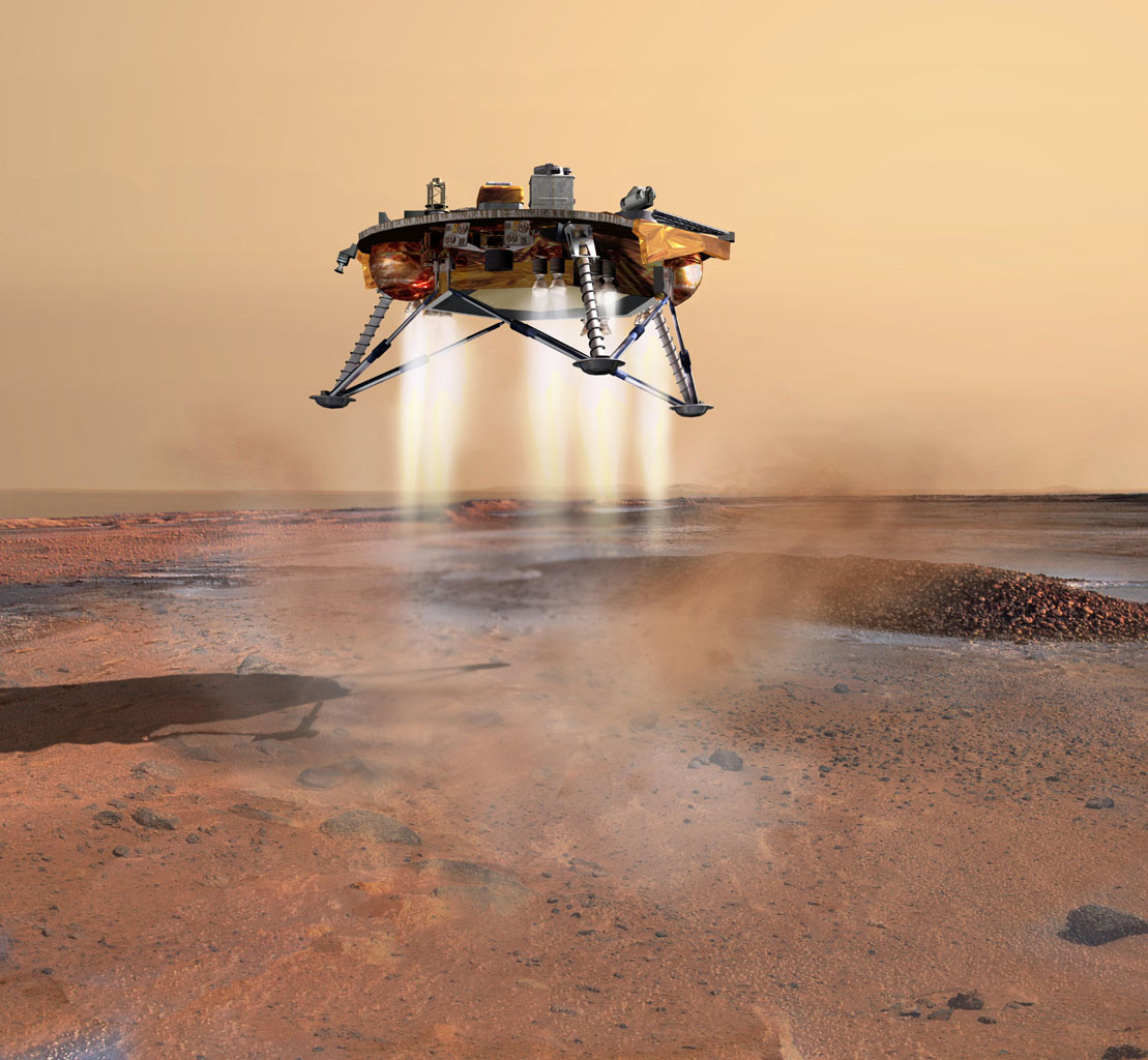 This artist's concept depicts NASA's Phoenix Mars Lander a moment before its 2008 touchdown on the arctic plains of Mars. Pulsed rocket engines control the spacecraft's speed during the final seconds of descent.