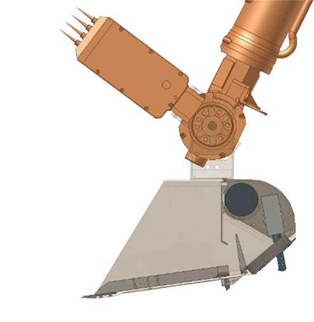 This illustration shows some of the components on and near the end of the robotic arm on NASA's Phoenix Mars Lander. Primary and secondary blades on the scoop that aided in the collection of soil samples.
