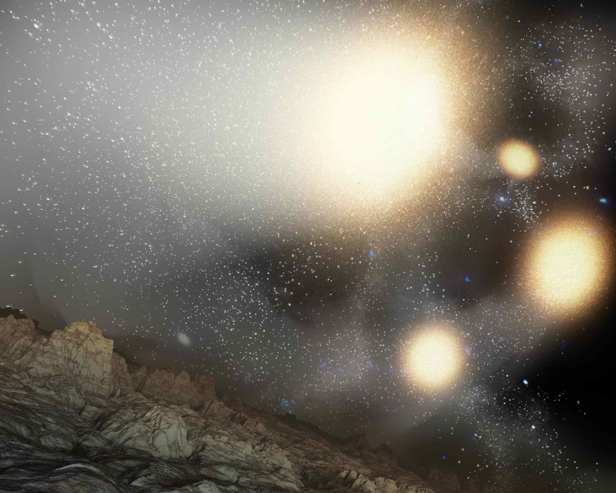 This artist's concept shows what the night sky might look like from a hypothetical planet around a star tossed out of an ongoing four-way collision between big galaxies.