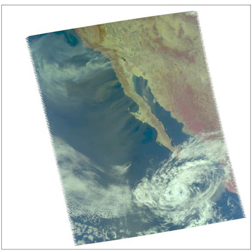 Smoke from multiple wildfires burning in Southern California in October, 2007, can be seen in this false-color image from the Atmospheric Infrared Sounder (AIRS) instrument onboard NASA's Aqua satellite.