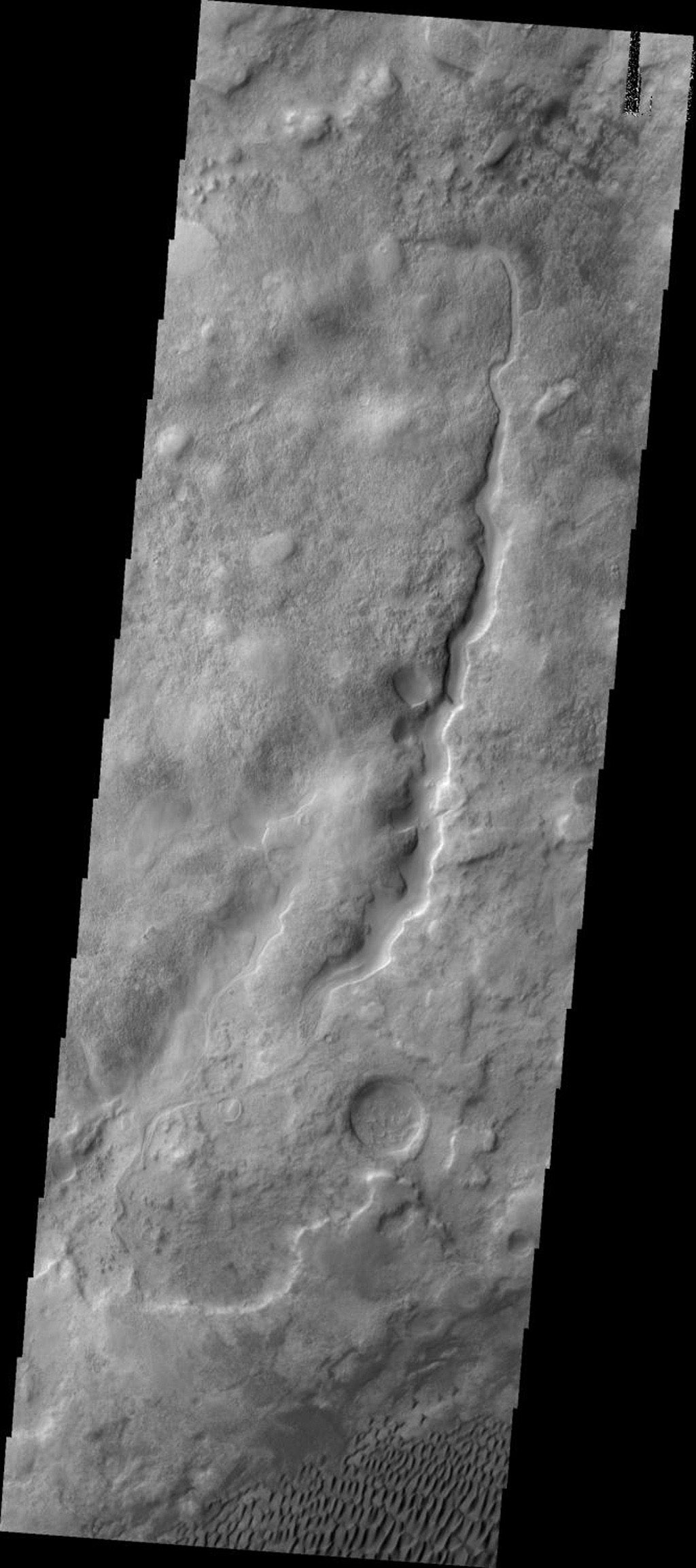This image from NASA's Mars Odyssey shows small dunes located in the plains of Aonia Terra on Mars.
