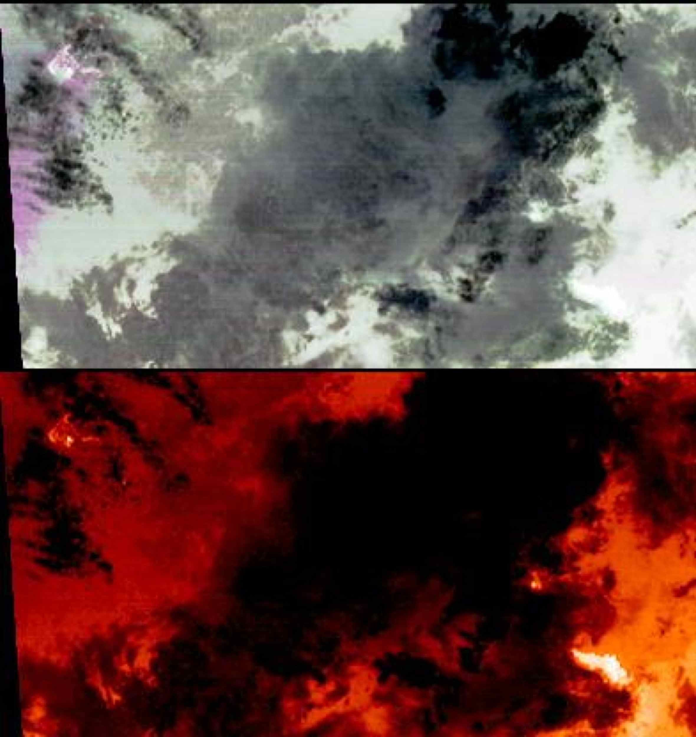 On the night of March 25, 2008, the Advanced Spaceborne Thermal Emission and Reflection Radiometer instrument on NASA's Terra satellite captured these thermal infrared images of Kilauea volcano on Hawaii's Big Island. Kilauea was active at two locations.