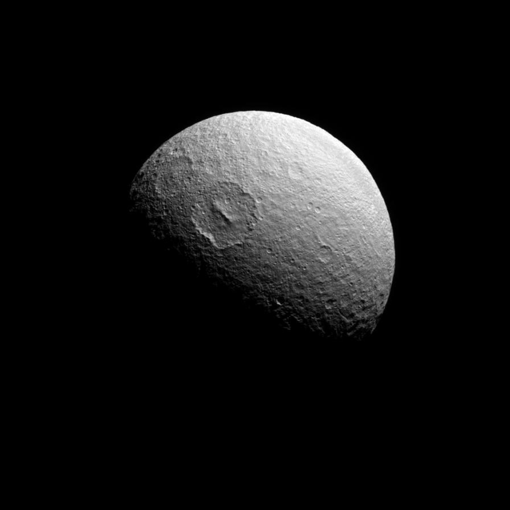 NASA's Cassini spacecraft view looks almost directly at the south pole of Saturn's icy moon Tethys. Tethys is 1,062 kilometers (660 miles) across.