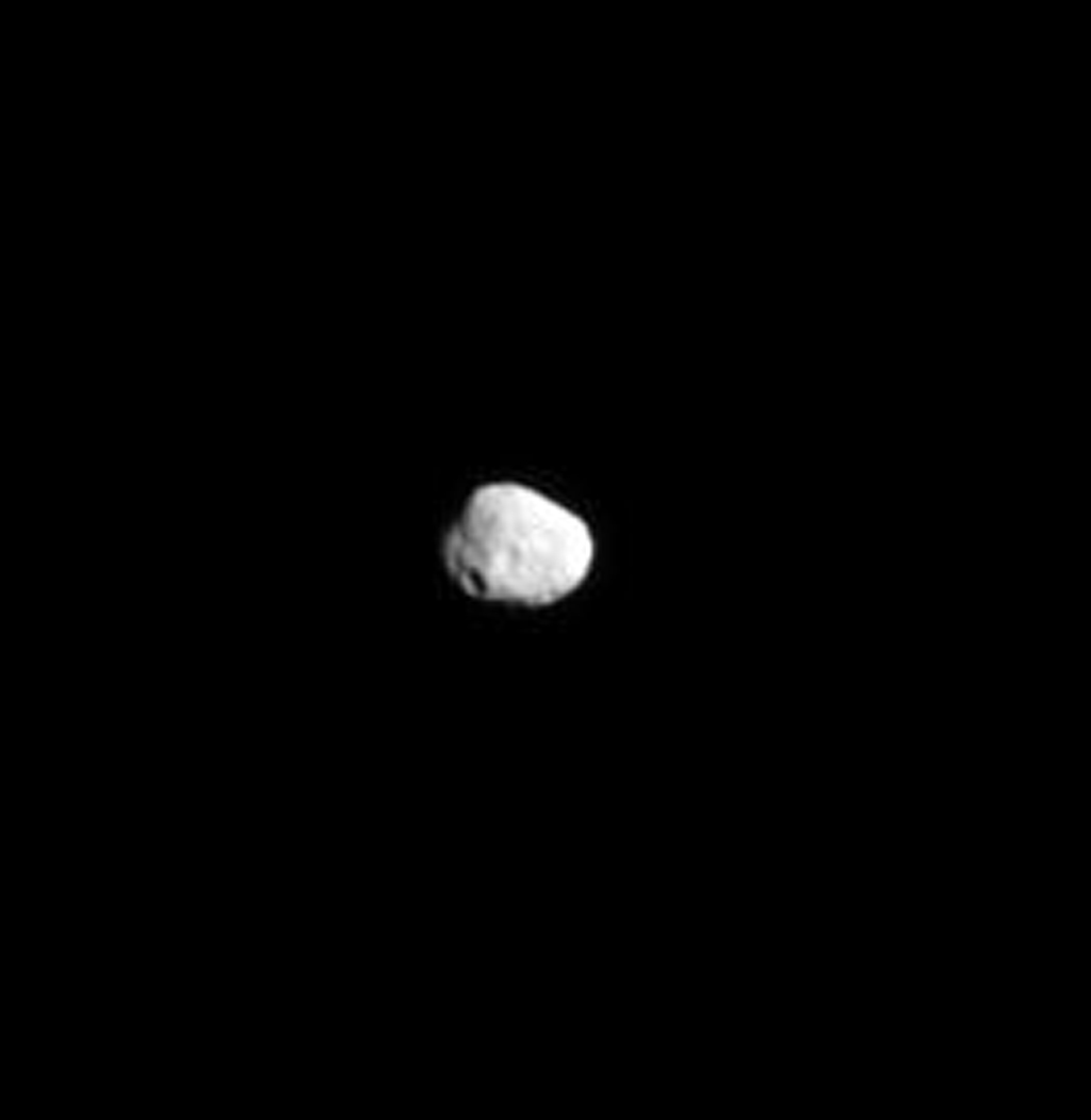 NASA's Cassini spacecraft captured a far-off view of Saturn's irregularly shaped, icy moon Janus on June 10, 2008.