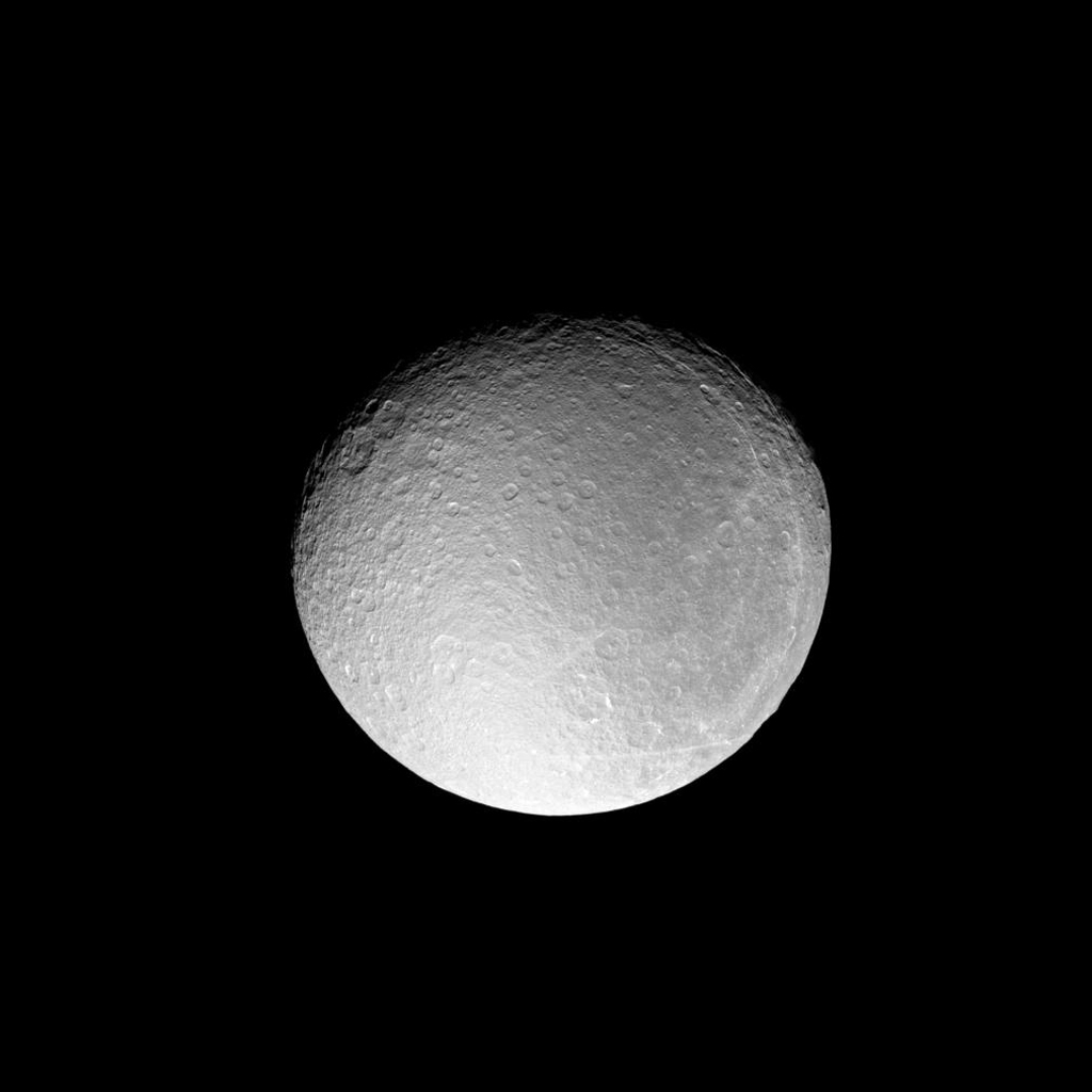 NASA's Cassini spacecraft acquired this detailed view of Rhea just before the moon slipped into an eclipse by Saturn's shadow. This view looks toward the Saturn-facing side of Rhea (1,528 kilometers, or 949 miles across).
