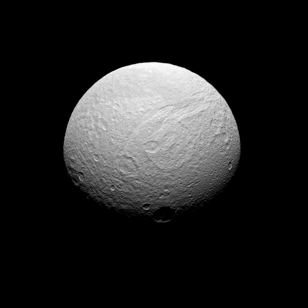 This image acquired by NASA's Cassini spacecraft on July 28, 2008, shows the souther reaches of Ithaca Chasma on Saturn's moon Tethys.