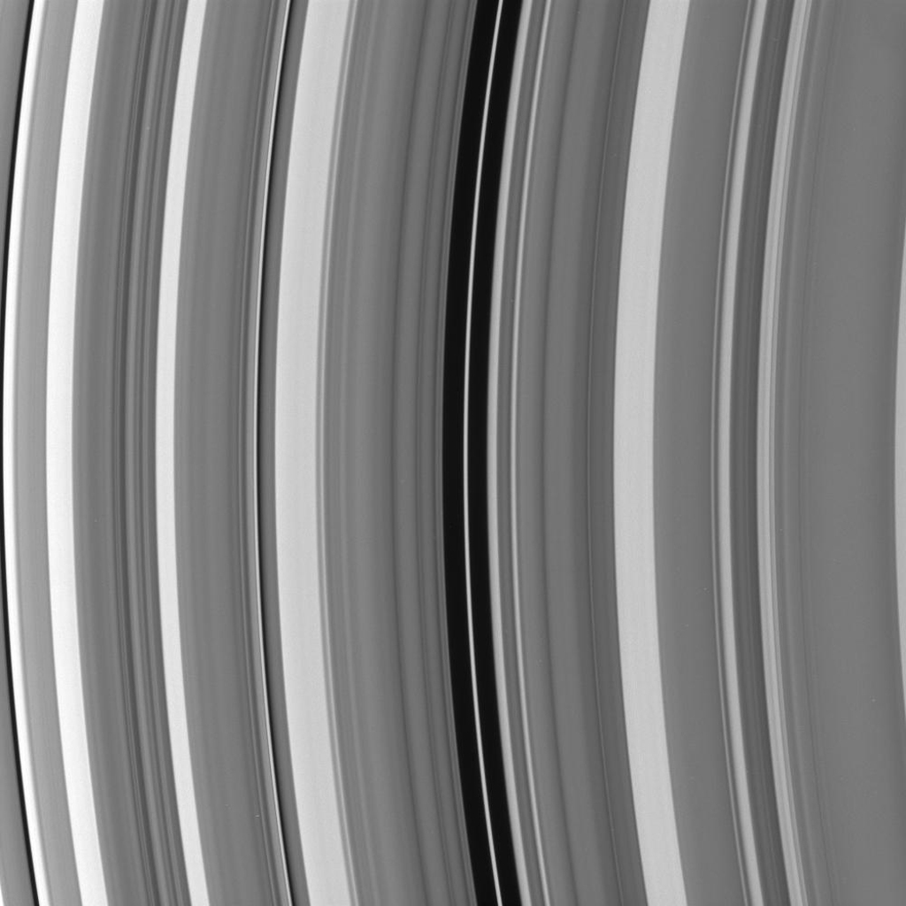 In the Maxwell gap within Saturn's C ring resides a narrow, eccentric ringlet of the same name. This image was captured by NASA's Cassini spacecraft on Oct. 25, 2008.