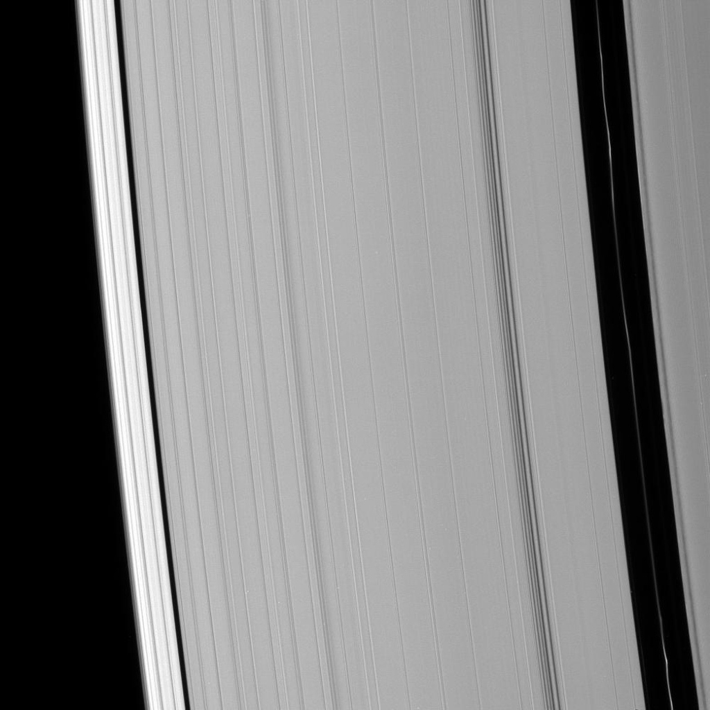 Saturn's Encke and Keeler gaps are visible in this image of the outer A ring. Brightness variations are clearly visible in the Encke ringlet. This image was captured by NASA's Cassini spacecraft on Oct. 23, 2008.