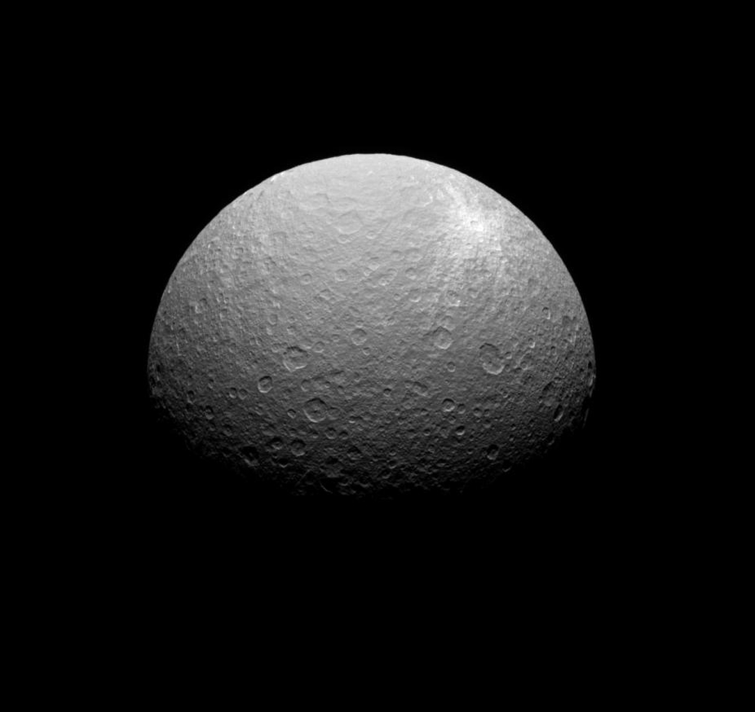 NASA's Cassini spacecraft obtained this view of a bright ray crater on the southern portions of Rhea's leading hemisphere.