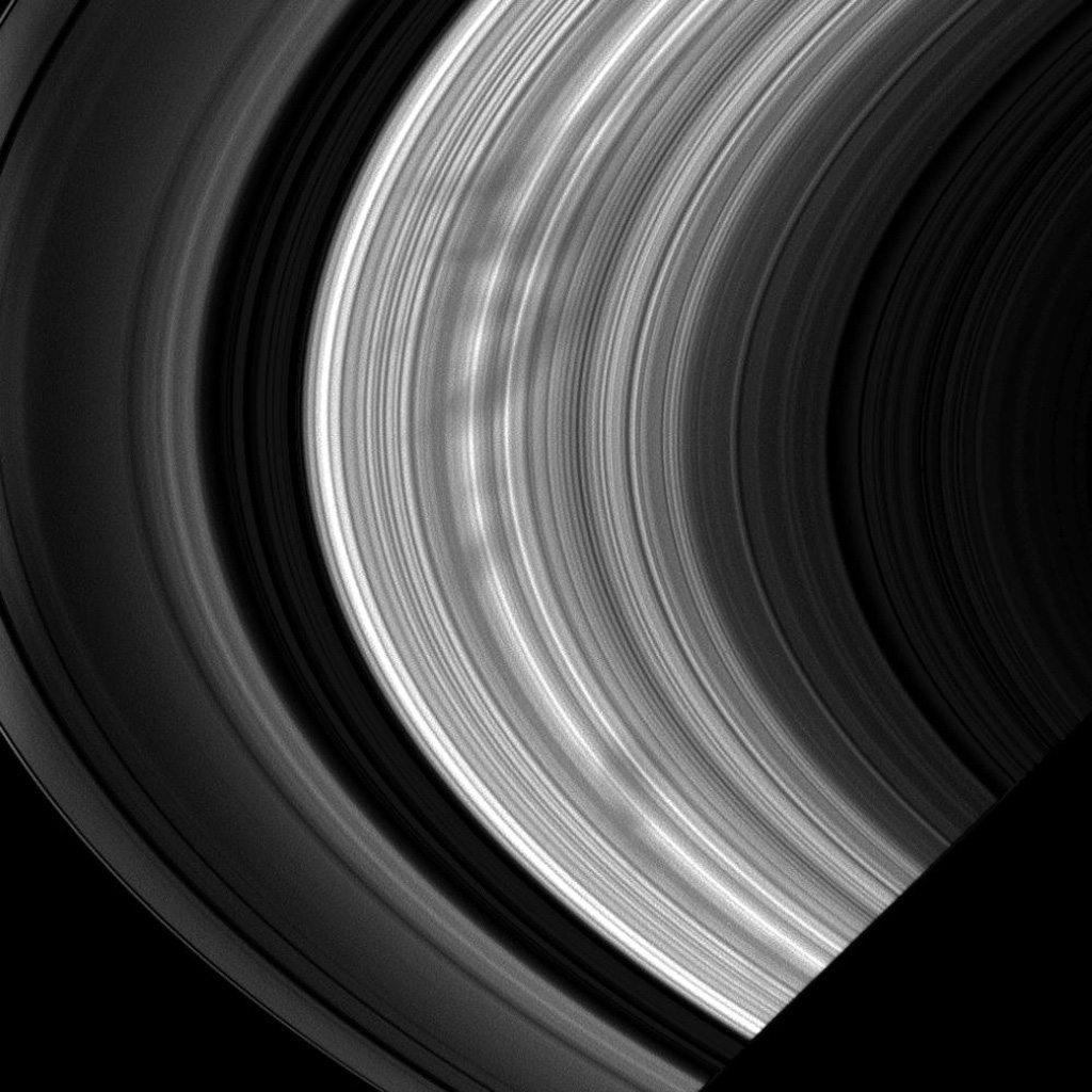A large group of spokes emerges from Saturn's shadow in this image taken on Nov. 2, 2008 by NASA's Cassini spacecraft of the morning side of the rings.