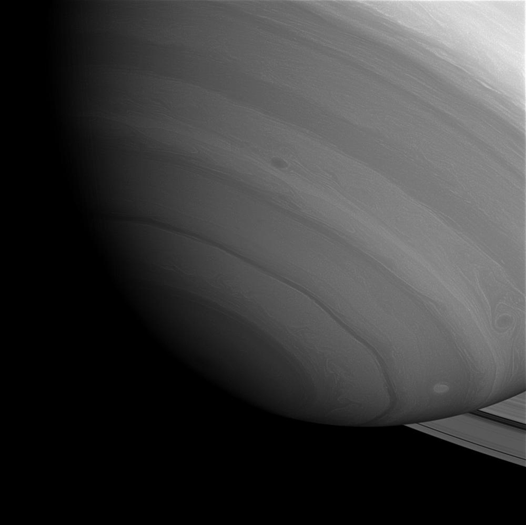 Saturn's south pole, seen here by NASA's Cassini spacecraft, is in twilight as Saturn nears equinox (August 2009). Soon, the pole will enter its 15-year-long night.