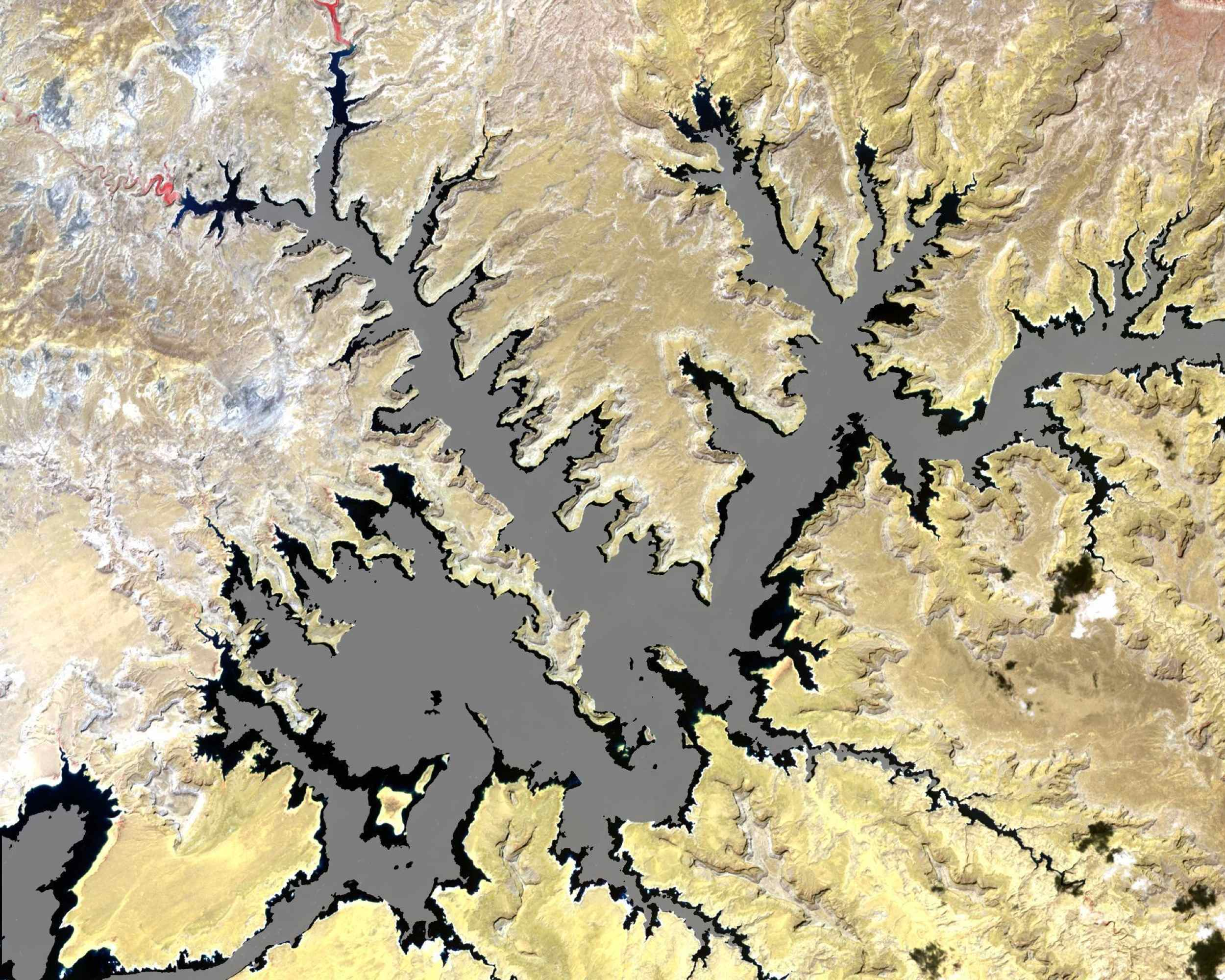 The white ring around Lake Powell tells the story. The surface is down 98 feet. This is critical, because Powell, Lake Mead, and other lakes along the Colorado River provide water for millions of people in five states. Image from NASA's Terra satellite.