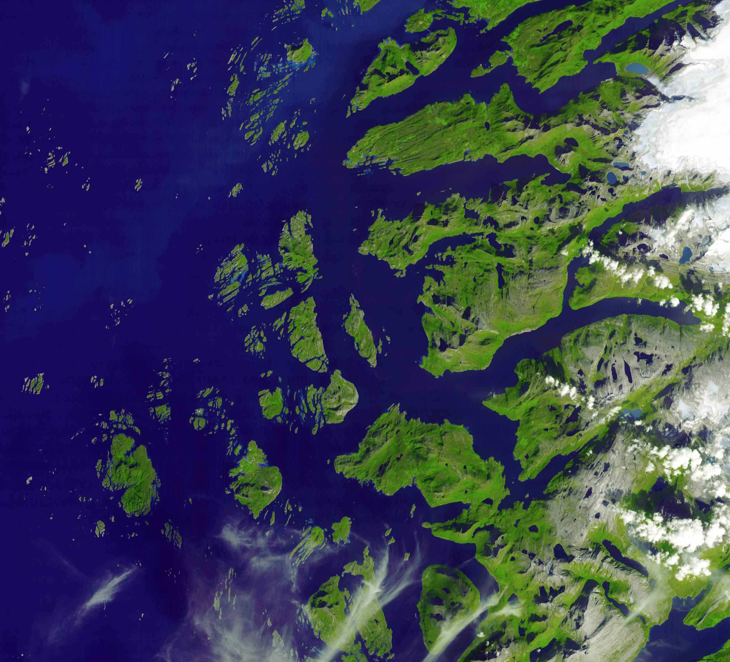 The Arctic Circle cuts through the western coast of Norway and the Saltfjellet-Svartisen National Park. This image was acquired by NASA's Terra satellite on August 23, 2006.