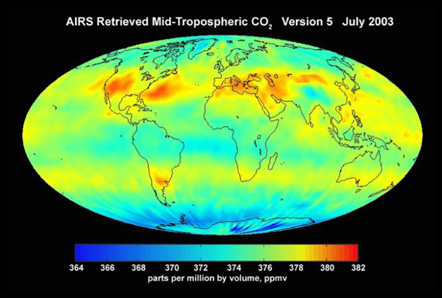 AIRS mid-tropospheric CO2, Version 5, July 2003 from the Atmospheric Infrared Sounder (AIRS) instrument onboard NASA's Aqua satellite.