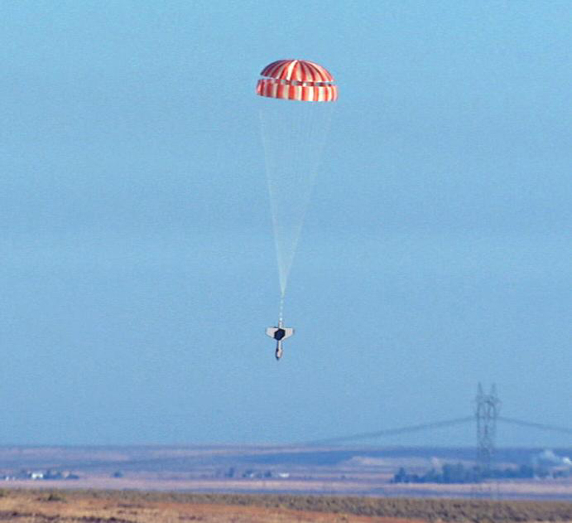 NASA's Phoenix Mars Lander parachuted for nearly three minutes as it descended through the Martian atmosphere on May 25, 2008. Extensive preparations for that crucial period included this drop test near Boise, Idaho, in October 2006.