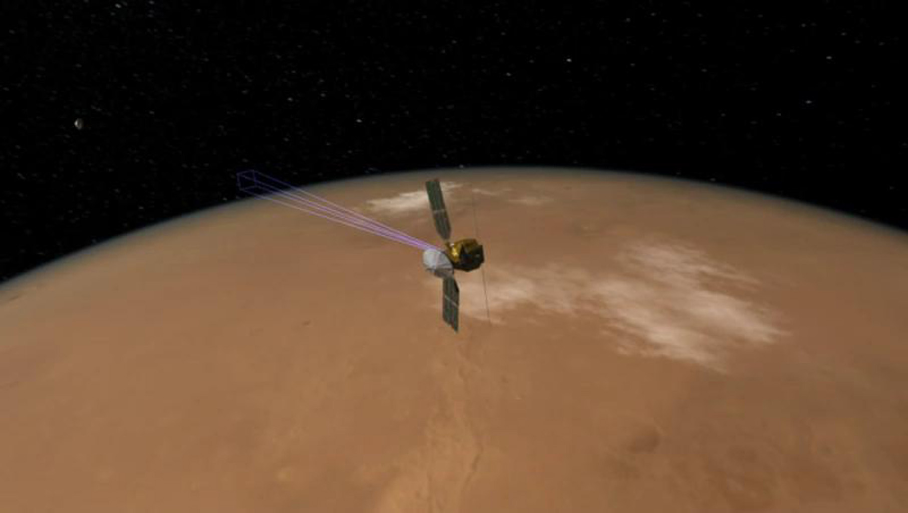 This image shows how NASA's Mars Reconnaissance Orbiter was able to snap a picture of NASA's Phoenix Mars Lander as it parachuted down to the surface of Mars.