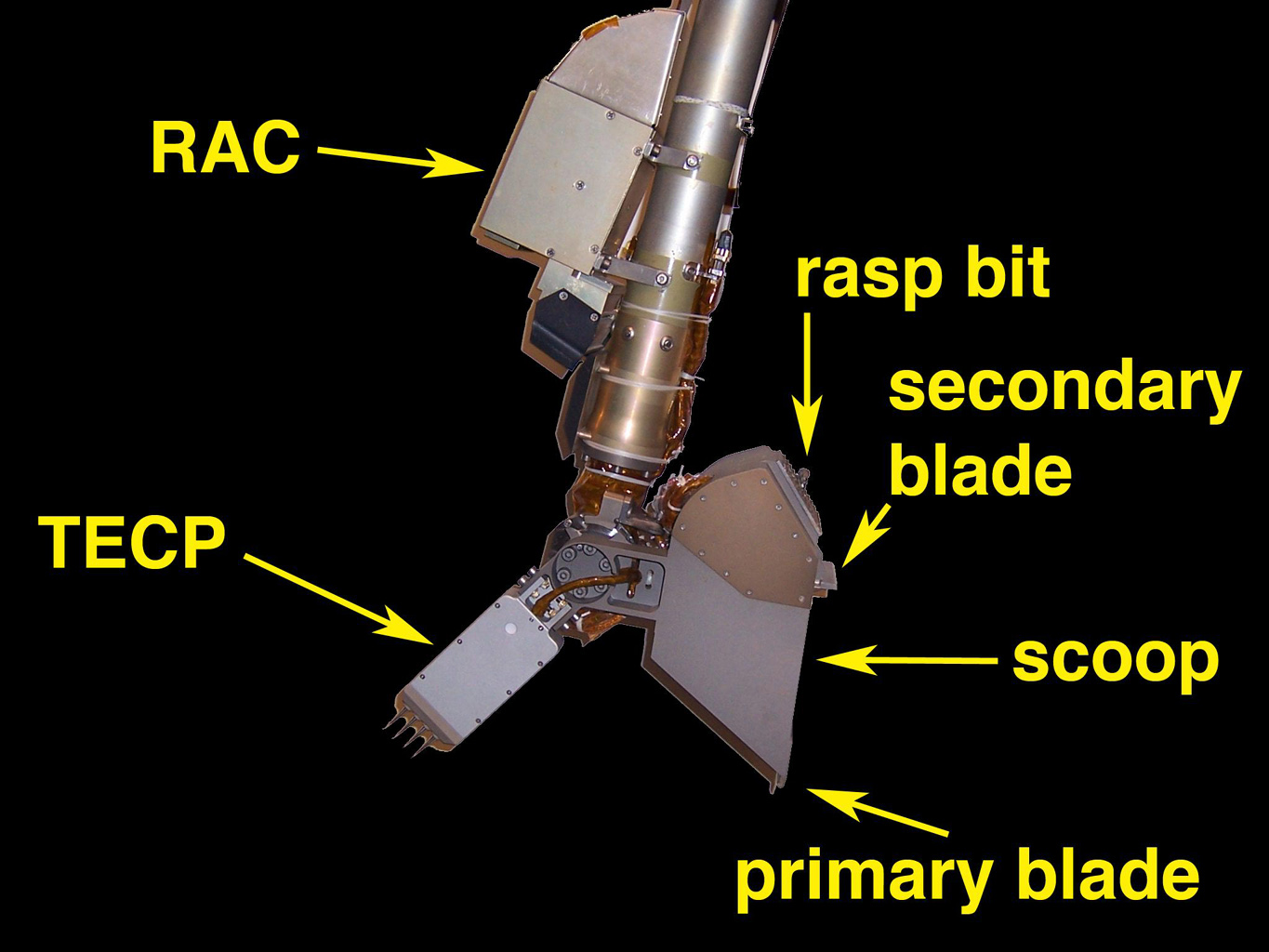 Image illustrates the tools on the end of the arm that are used to acquire samples, image the contents of the scoop, and perform science experiments.