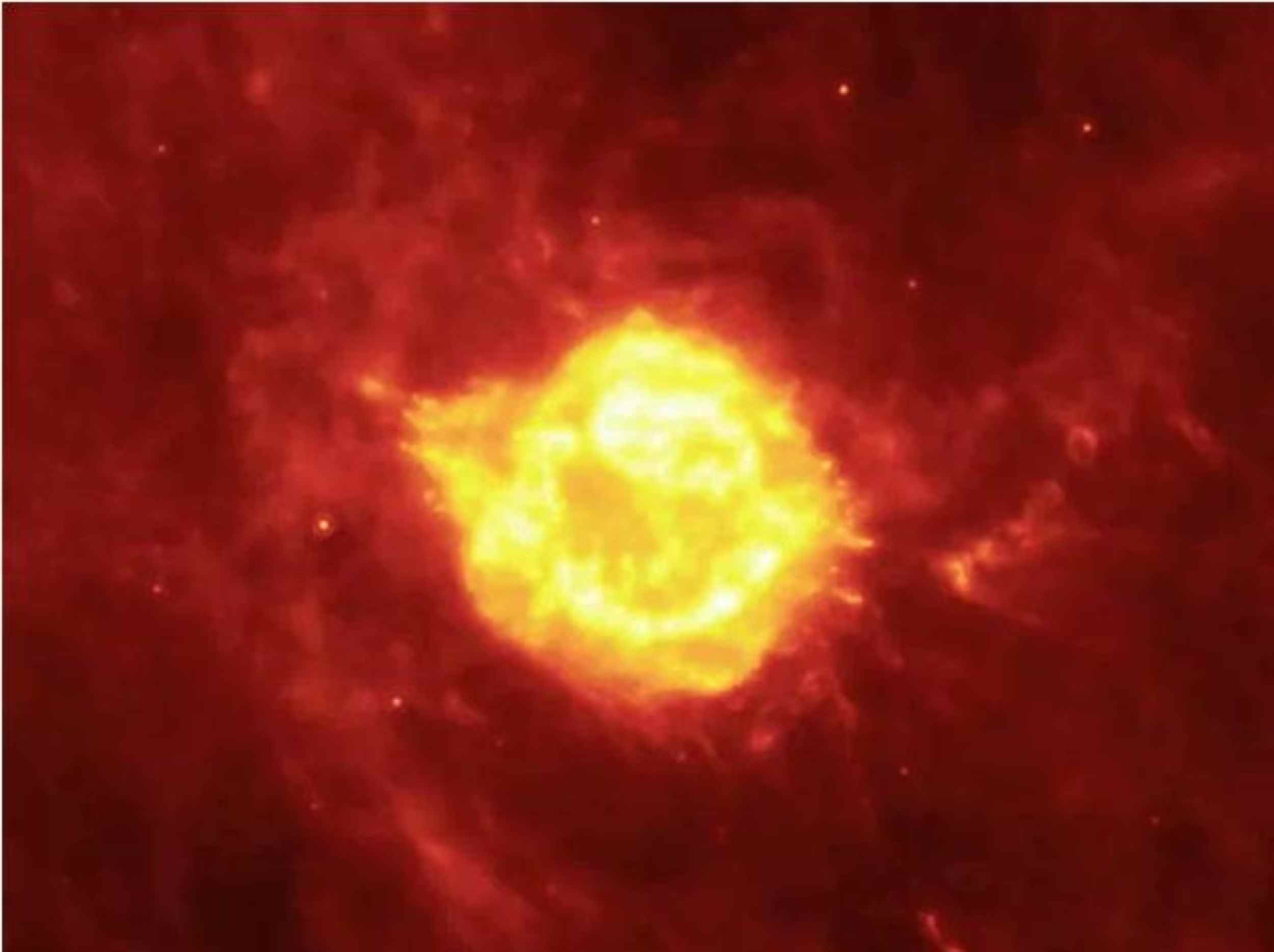 A seething cauldron of light appears to bubble and ooze around the remains of a giant star that astronomers have been watching tear itself apart for the last 300 years. Different observations taken over three years by NASA' Spitzer Space Telescope.