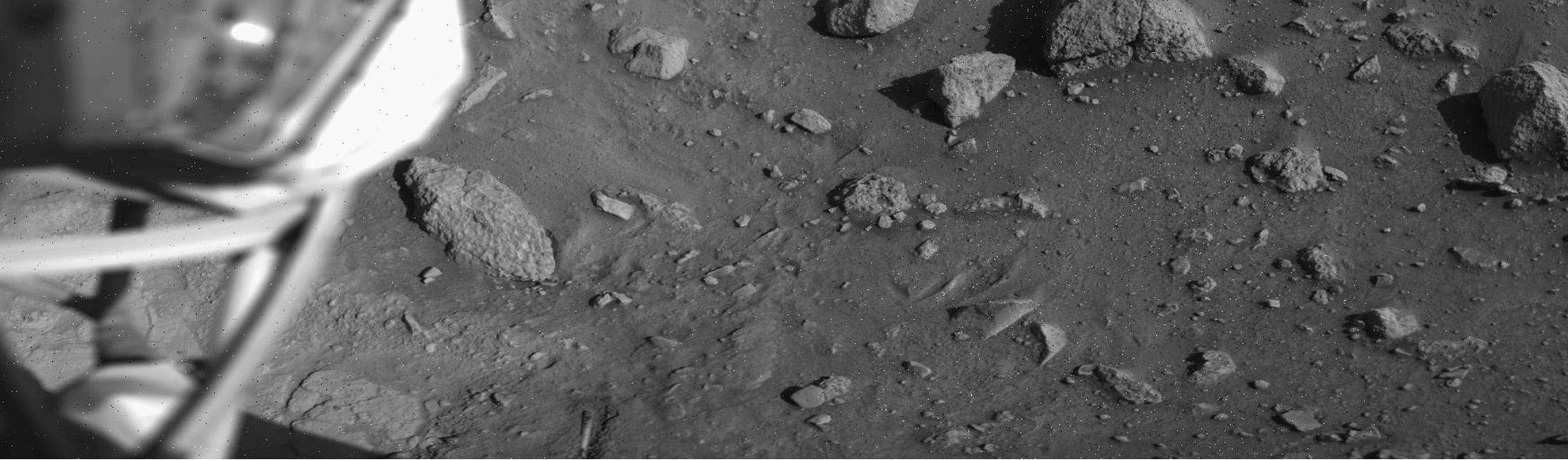This image was taken by NASA's Viking Lander 1 on August 1, 1976, 12 sols after landing. The soil beneath Viking 1 has been exposed due to exhaust from thruster engines during descent.