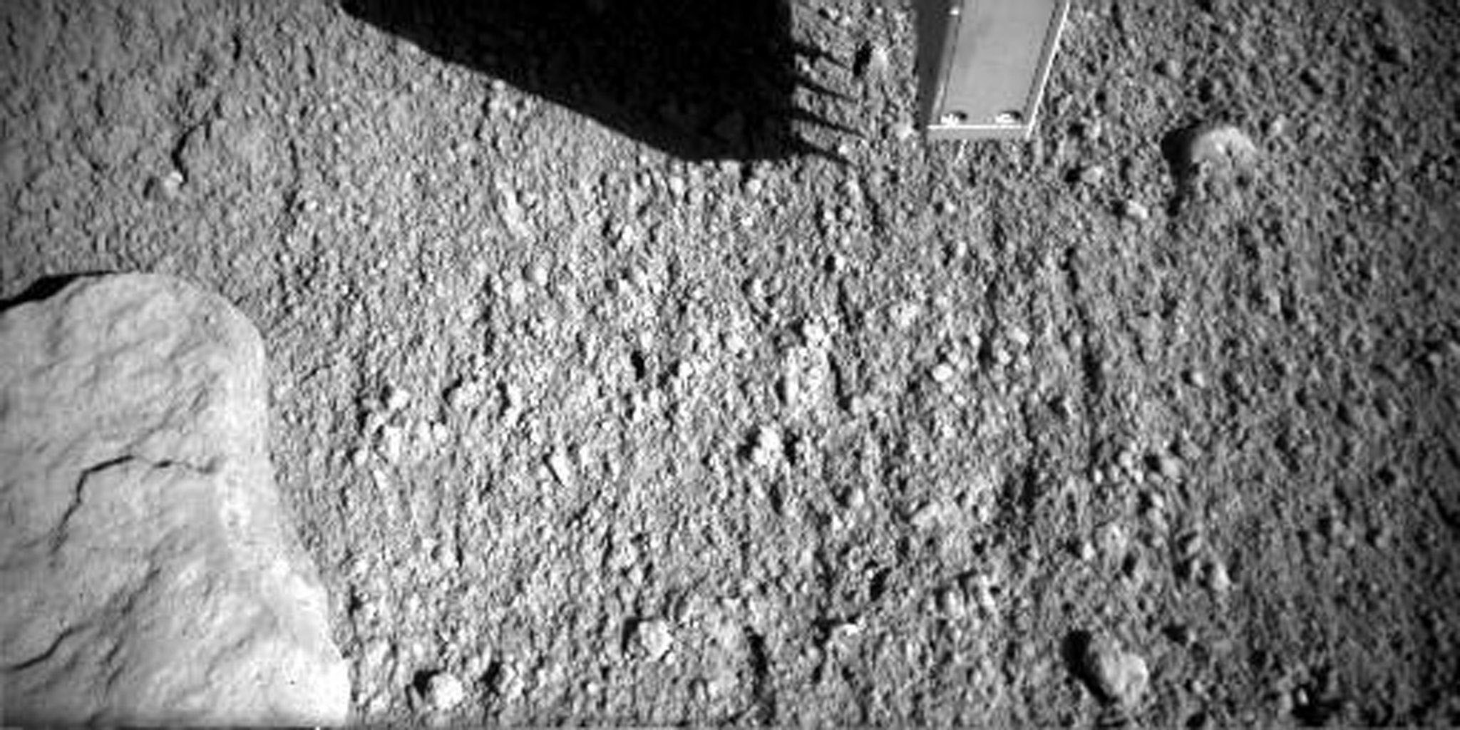 This image shows the first time that the four spikes of the NASA's Phoenix Mars Lander's thermal and electrical conductivity probe were inserted into Martian soil.