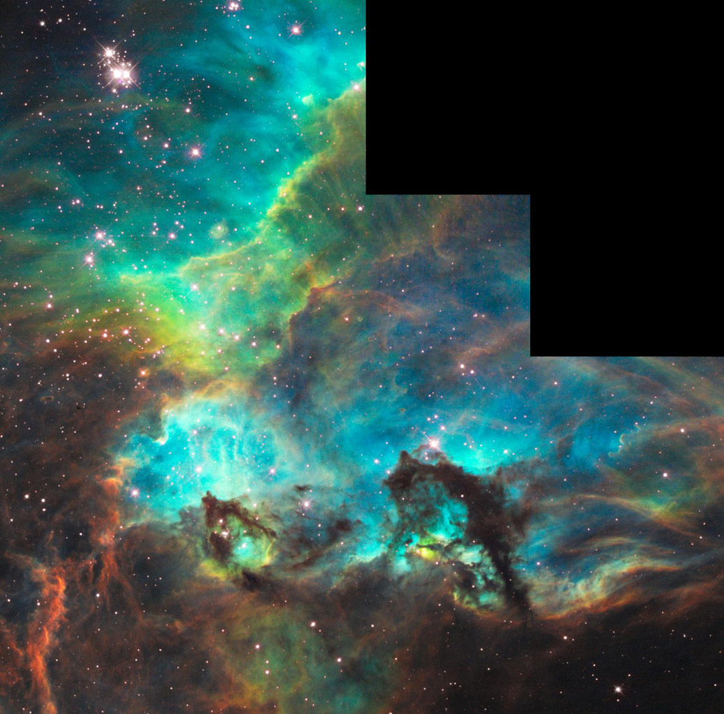 Hubble Unveils Colorful and Turbulent Star-Birth Region on 100,000th Orbit Milestone