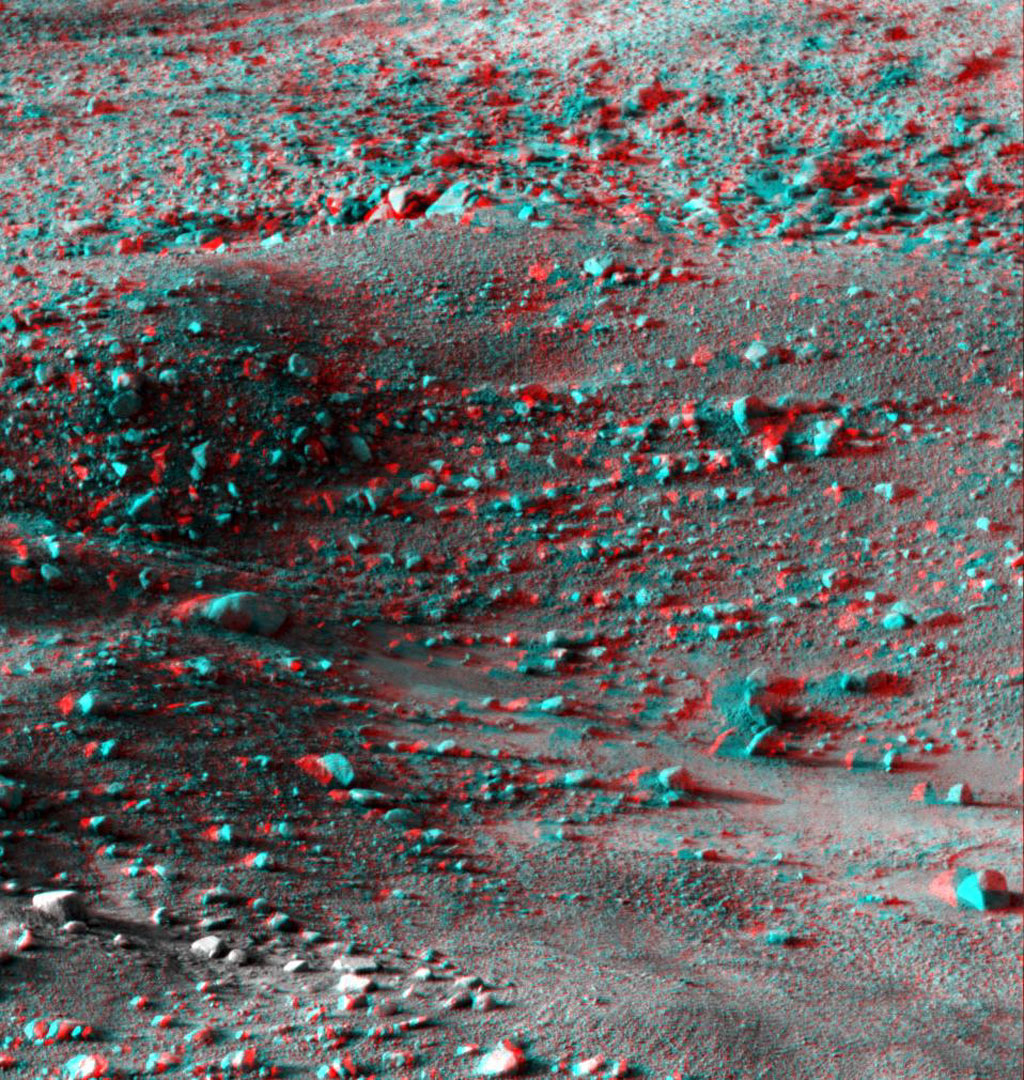 This anaglyph, acquired by NASA's Phoenix Lander on Jun. 8, 2008, shows a stereoscopic 3D view of the Martian surface near the lander. 3D glasses are necessary to view this image.