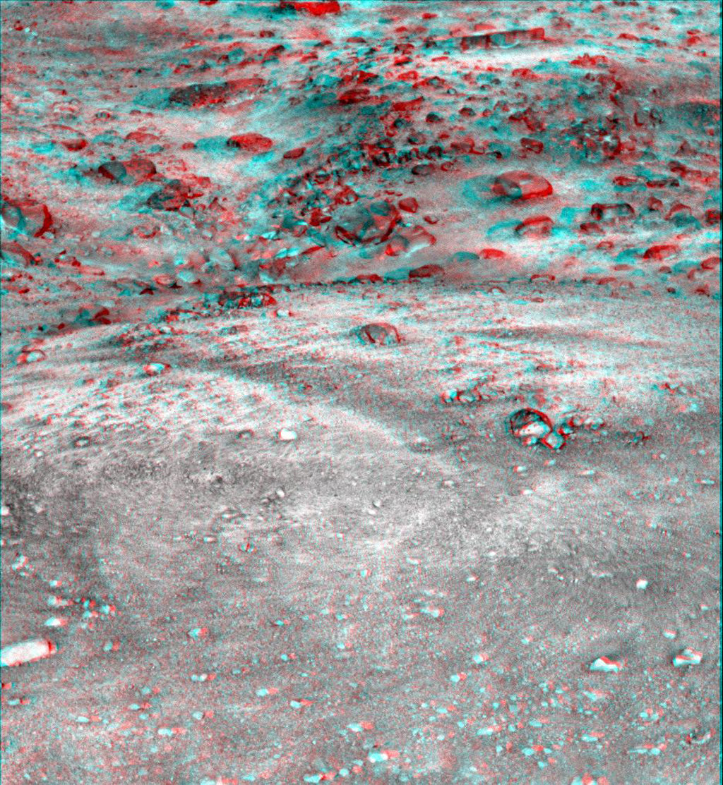 This anaglyph, acquired by NASA's Phoenix Lander on Jun. 7, 2008, shows a stereoscopic 3D view of the Martian surface near the lander. 3D glasses are necessary to view this image.