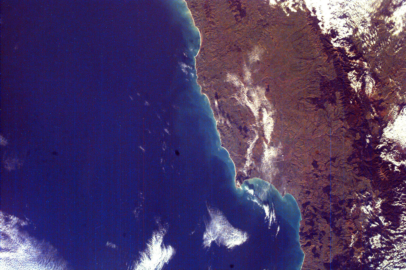 This image from NASA's EarthKAM is of Hawke's Bay, one of the 12 local government regions of eastern North Island, New Zealand. It includes larger cities, such as Hastings and Napier.