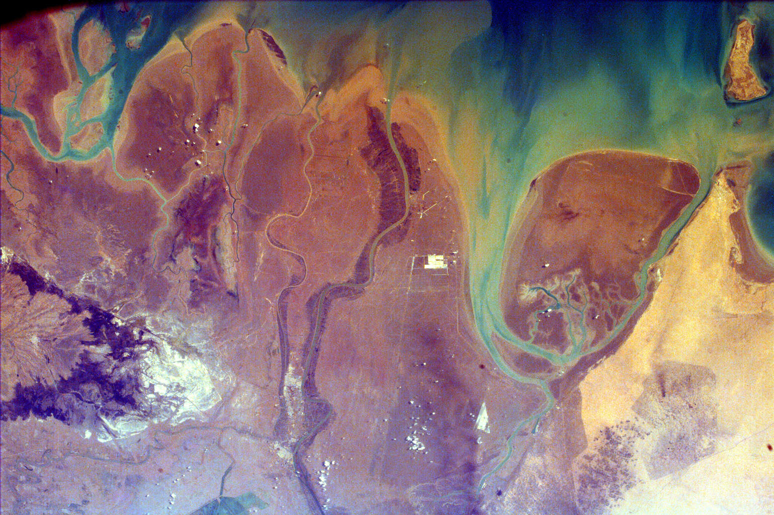This image from NASA's EarthKAM is of the northern end of the Persian Gulf and the broad delta complex of the Tigris, Euphrates, Shatt al Arab, and Karun rivers has captured the arid-looking wetlands of northeast Kuwait (Bubiyan Island),