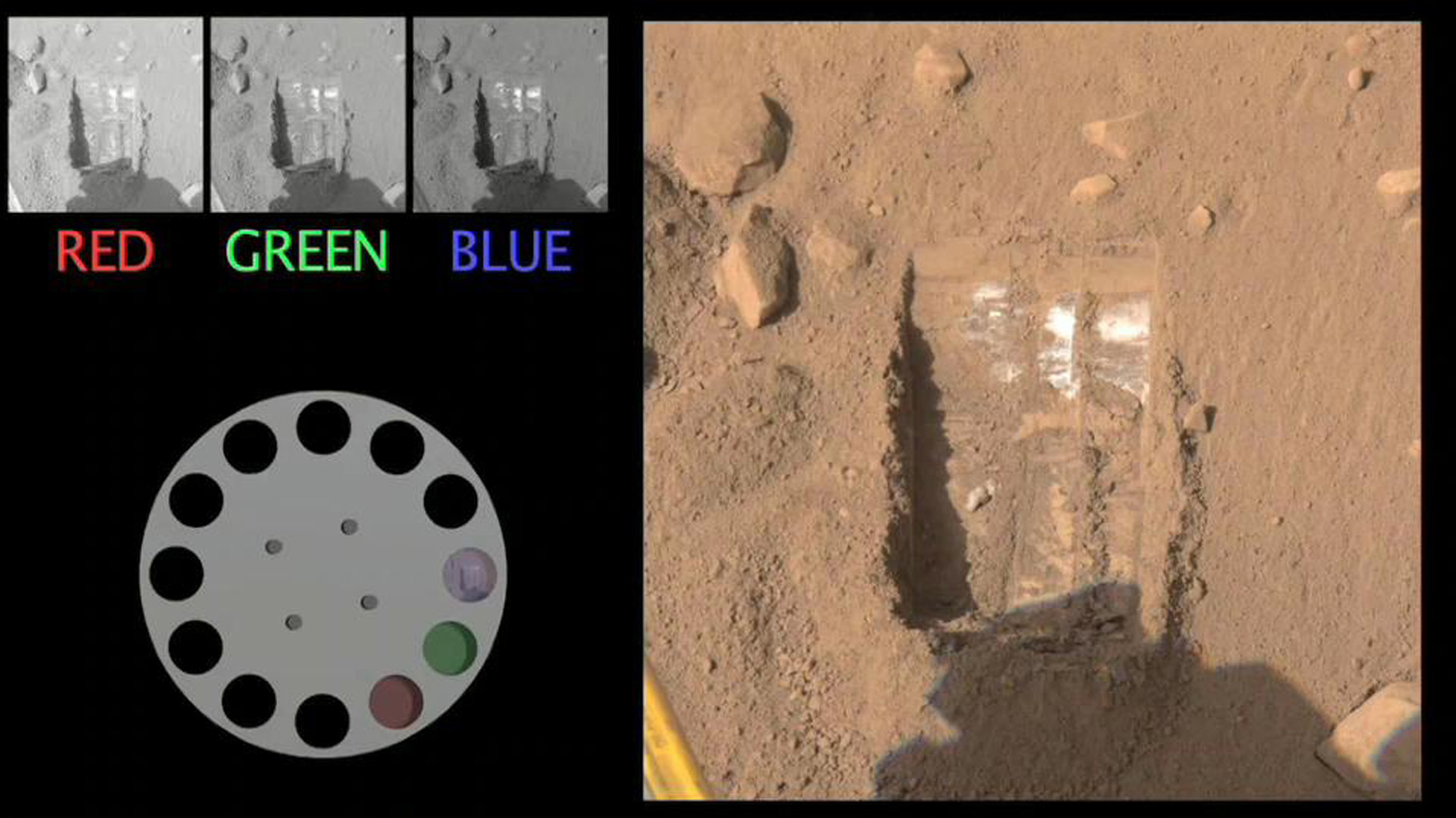 The Surface Stereo Imager onboard NASA's Phoenix Mars Lander captures a scene with three different filters. The images are sent to Earth in black and white and the color is added by mission scientists.