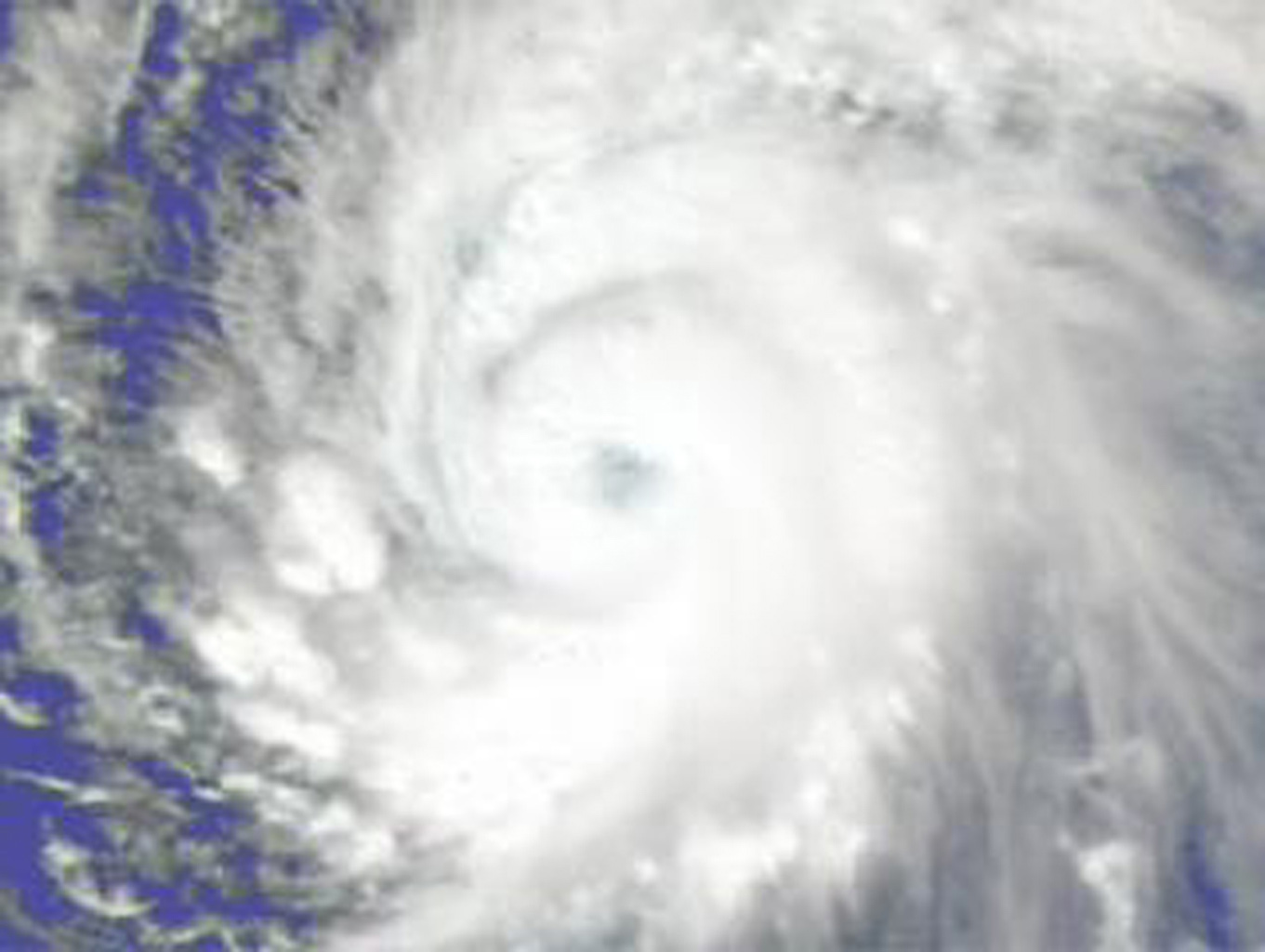 Supertyphoon Pongsona isotherms as it hit the island of Guam, December of 2002, from the Atmospheric Infrared Sounder (AIRS) on NASA's Aqua satellite.