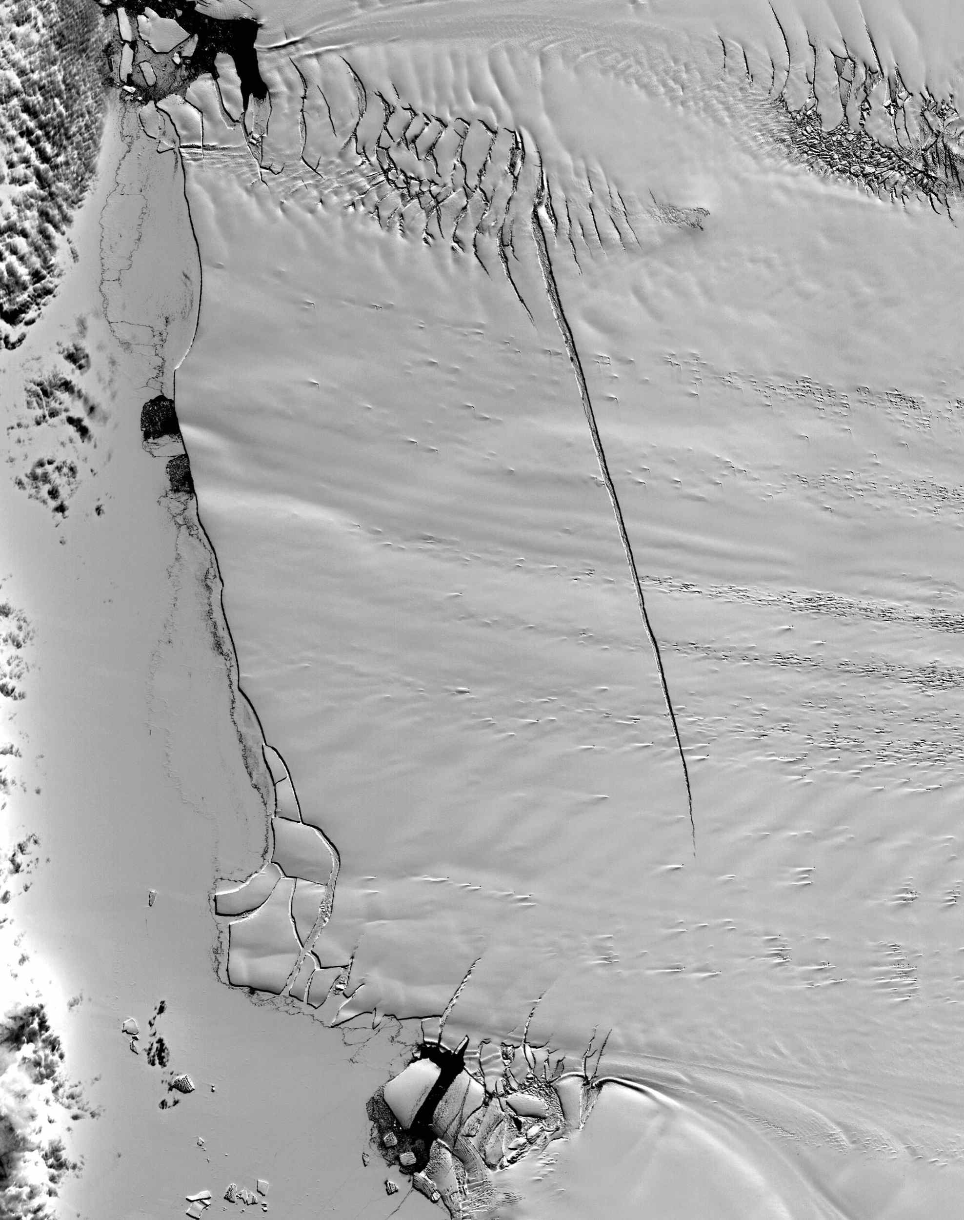 Pine Island Glacier has undergone a steady loss of elevation with retreat of the grounding line in recent decades. NASA's Terra satellite acquired the scene on December 12, 2000.