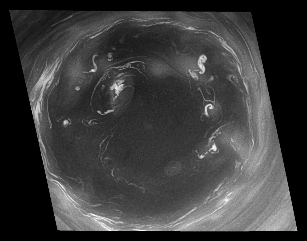 This detailed Cassini view of the monstrous vortex at Saturn's south pole provides valuable insight about the mechanisms that power the planet's atmosphere. This image was taken with NASA's Cassini spacecraft's narrow-angle camera on July 14, 2008.