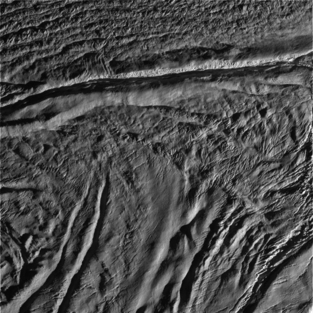 This image is the seventh skeet-shoot image taken during NASA's Cassini spacecraft's very close flyby of Enceladus on Aug. 11, 2008. Damascus Sulcus is crossing the upper part of the image.
