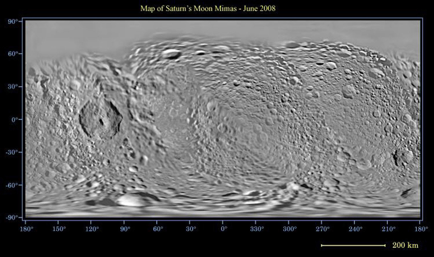This global map of Saturn's moon Mimas was created using images taken NASA's Cassini spacecraft flybys, with Voyager images filling in the gaps in Cassini's coverage.
