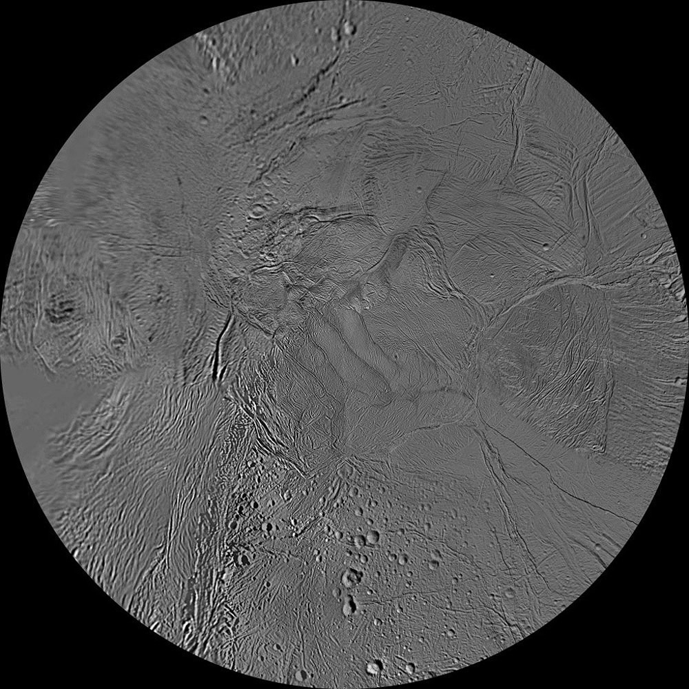 This updated mosaic of the southern hemisphere of Saturn's moon Enceladus has been constructed from the many high-resolution images acquired by NASA's Cassini spacecraft during four close targeted flybys of Enceladus in March, August and October 2008.