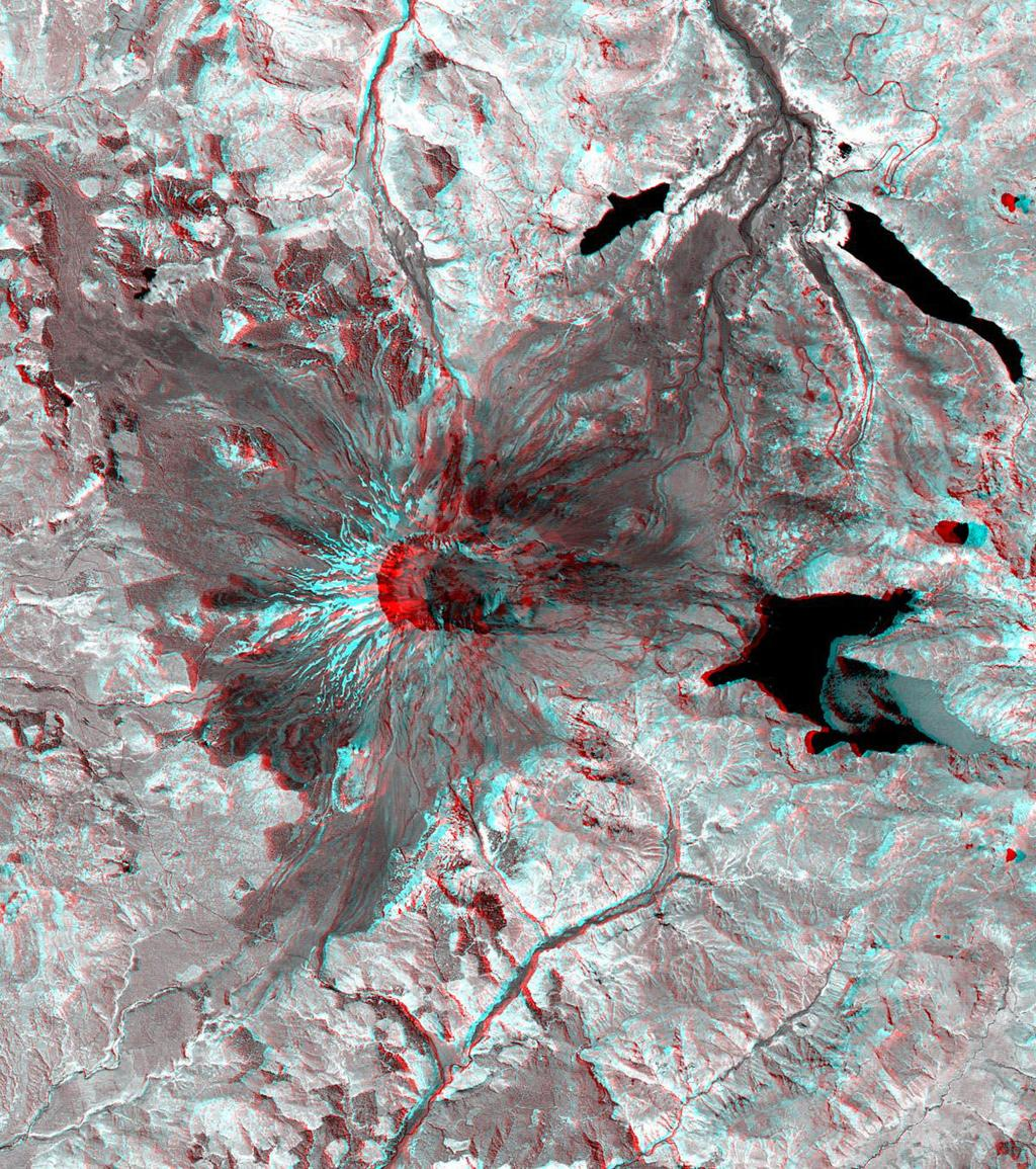 This 3-D anaglyph image of Mt. St. Helens volcano combines the nadir-looking and back-looking band 3 images of ASTER. To view the image in stereo, you will need blue-red glasses.