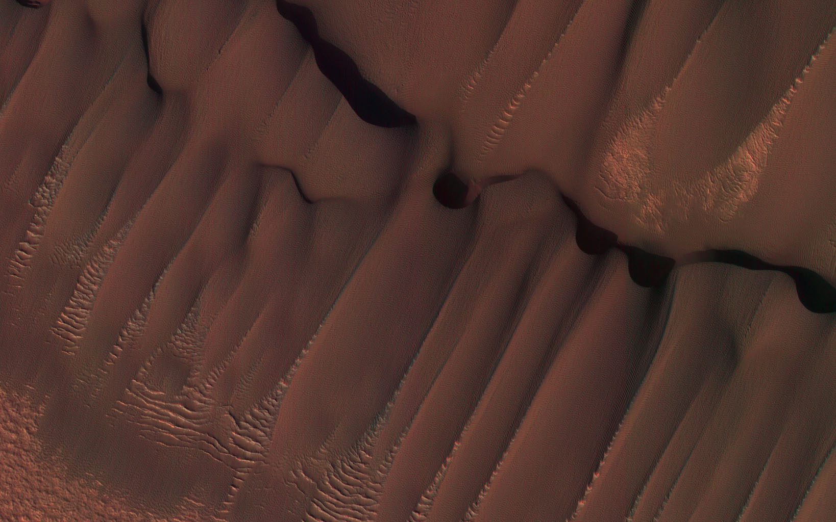 This image was taken by NASA's Mars Reconnaissance Orbiter during the Martian northern summer, thus there is no frost present on the dunes.