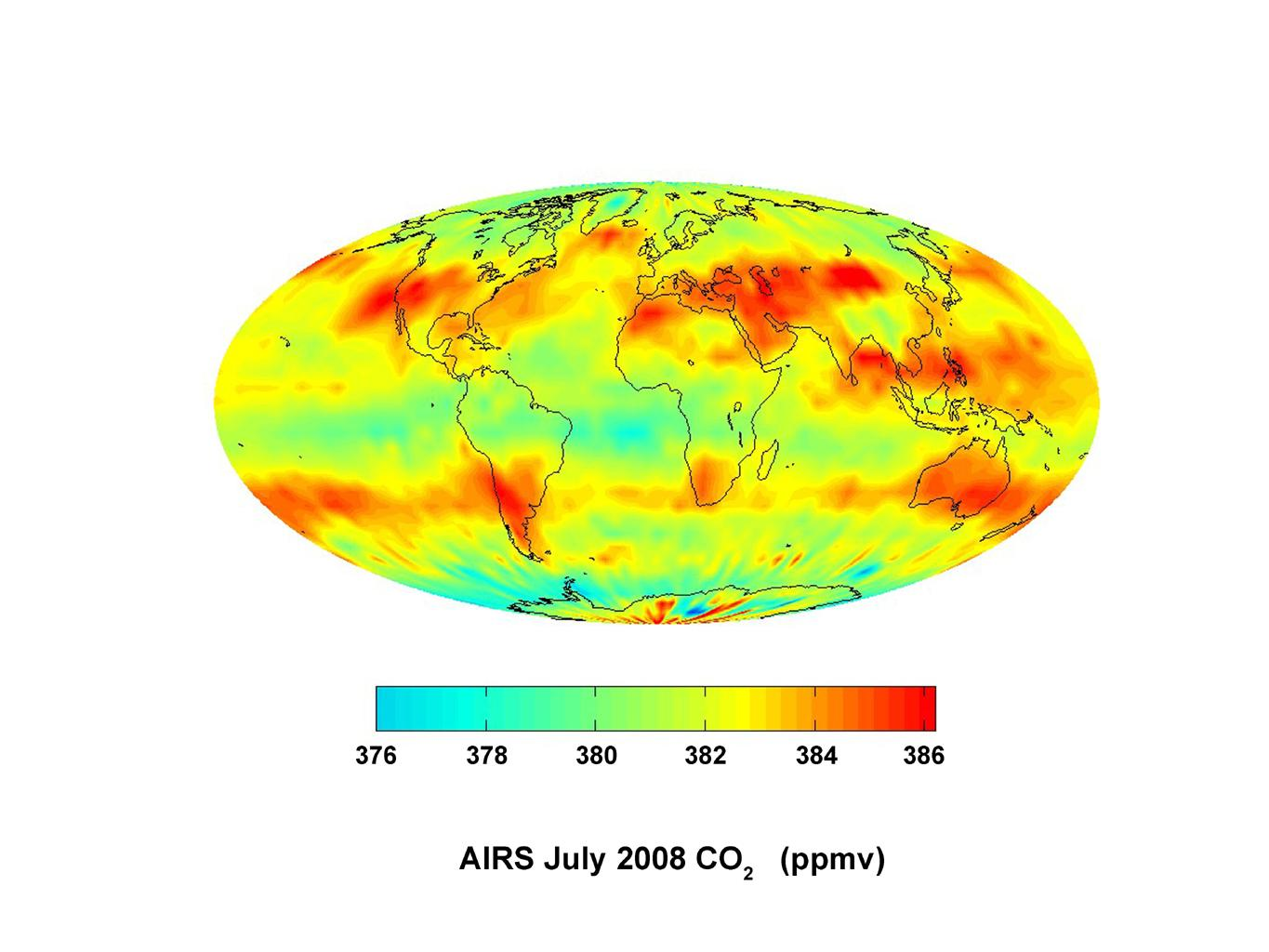 This image, created with data acquired by the Atmospheric Infrared Sounder instrument during July 2008, shows large scale patterns of carbon dioxide concentrations that are transported around the Earth by the general circulation of the atmosphere.