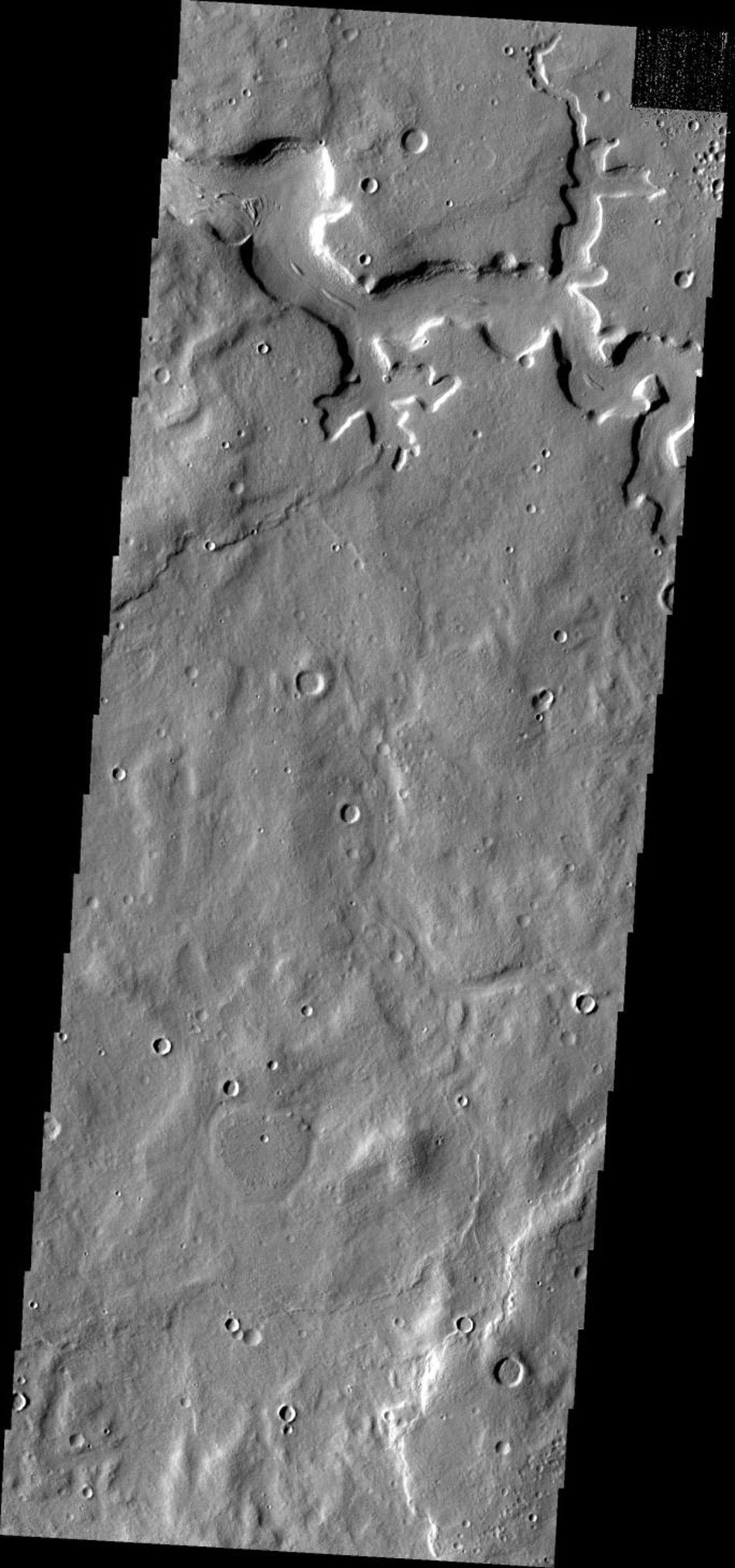 This image from NASA's Mars Odyssey shows a portion of an unnamed channel located in northern Terra Sabaea on Mars.
