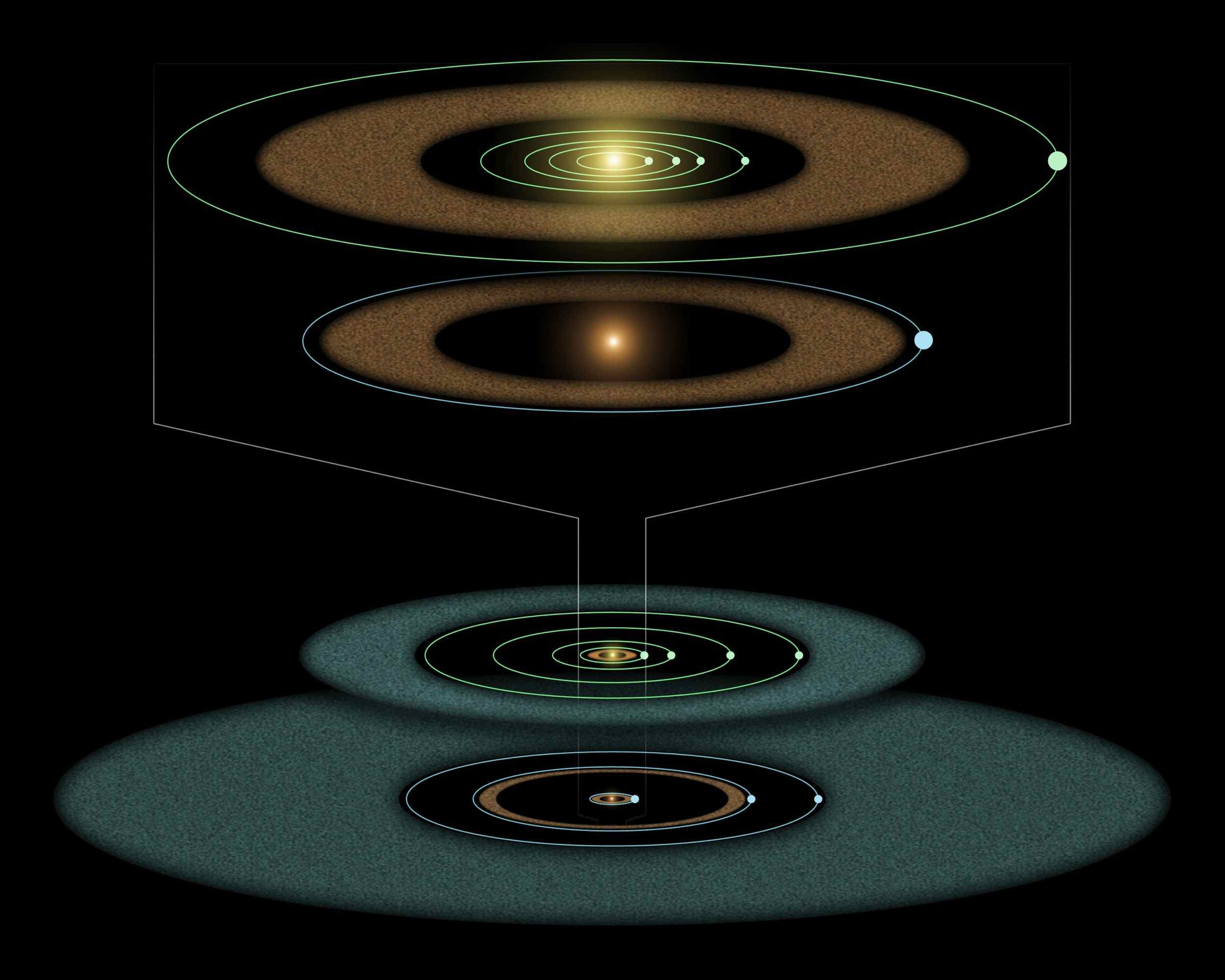 This artist's diagram based on observations from NASA's Spitzer Space Telescope compares the Epsilon Eridani system to our own solar system. The two systems are structure