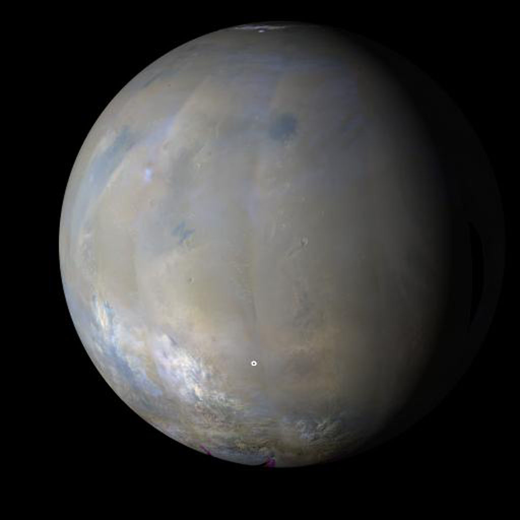 NASA's MARCI acquires a global view of the red planet and its weather patterns every day. This image was taken on Nov. 3, 2008 by the Mars Reconnaissance Orbiter.