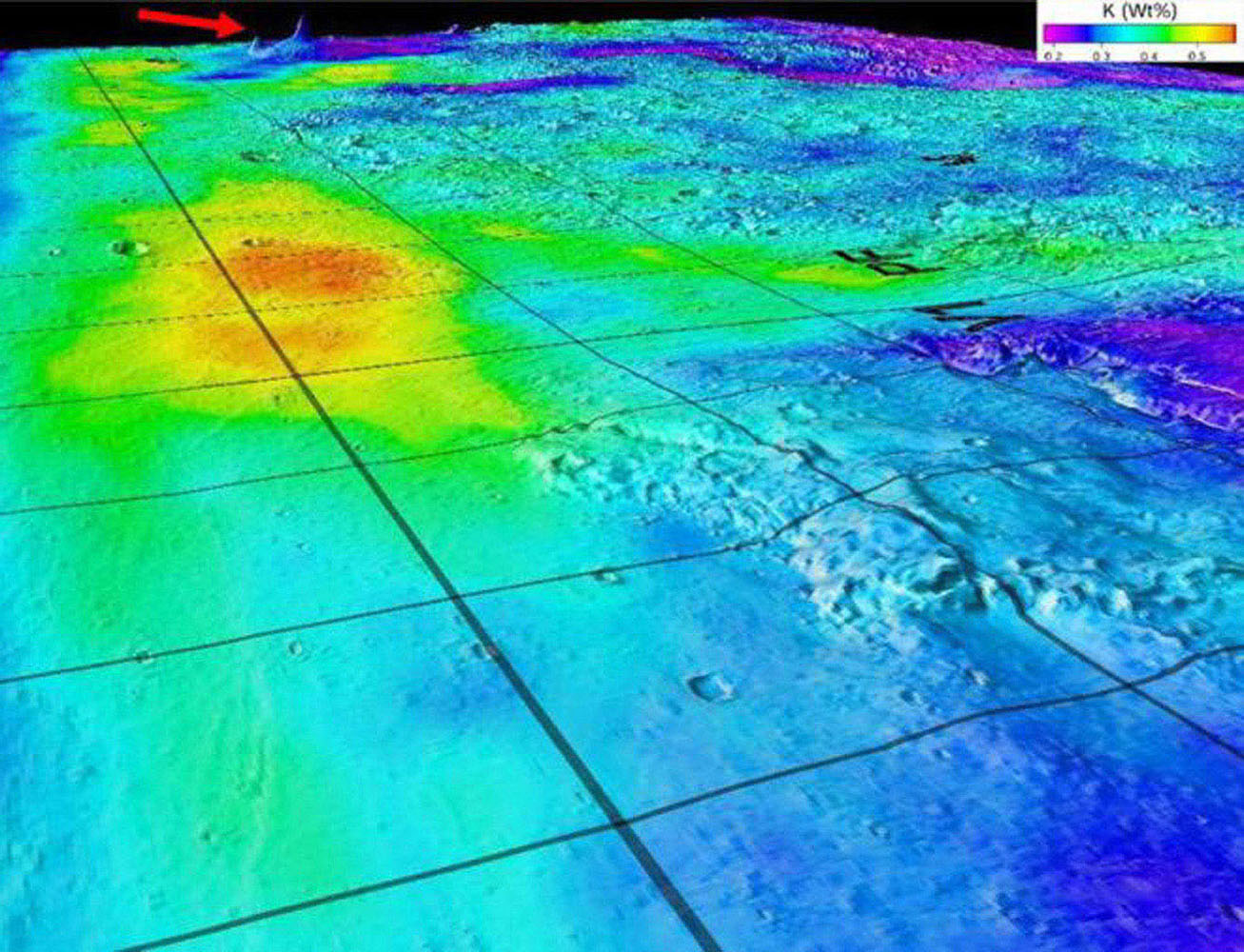 This image superimposes Gamma-Ray Spectrometer data from NASA's Mars Odyssey orbiter onto topographic data from the laser altimeter on NASA's Mars Global Surveyor. The red arrow indicates the shield volcanoes of Elysium rise in northern Mars.