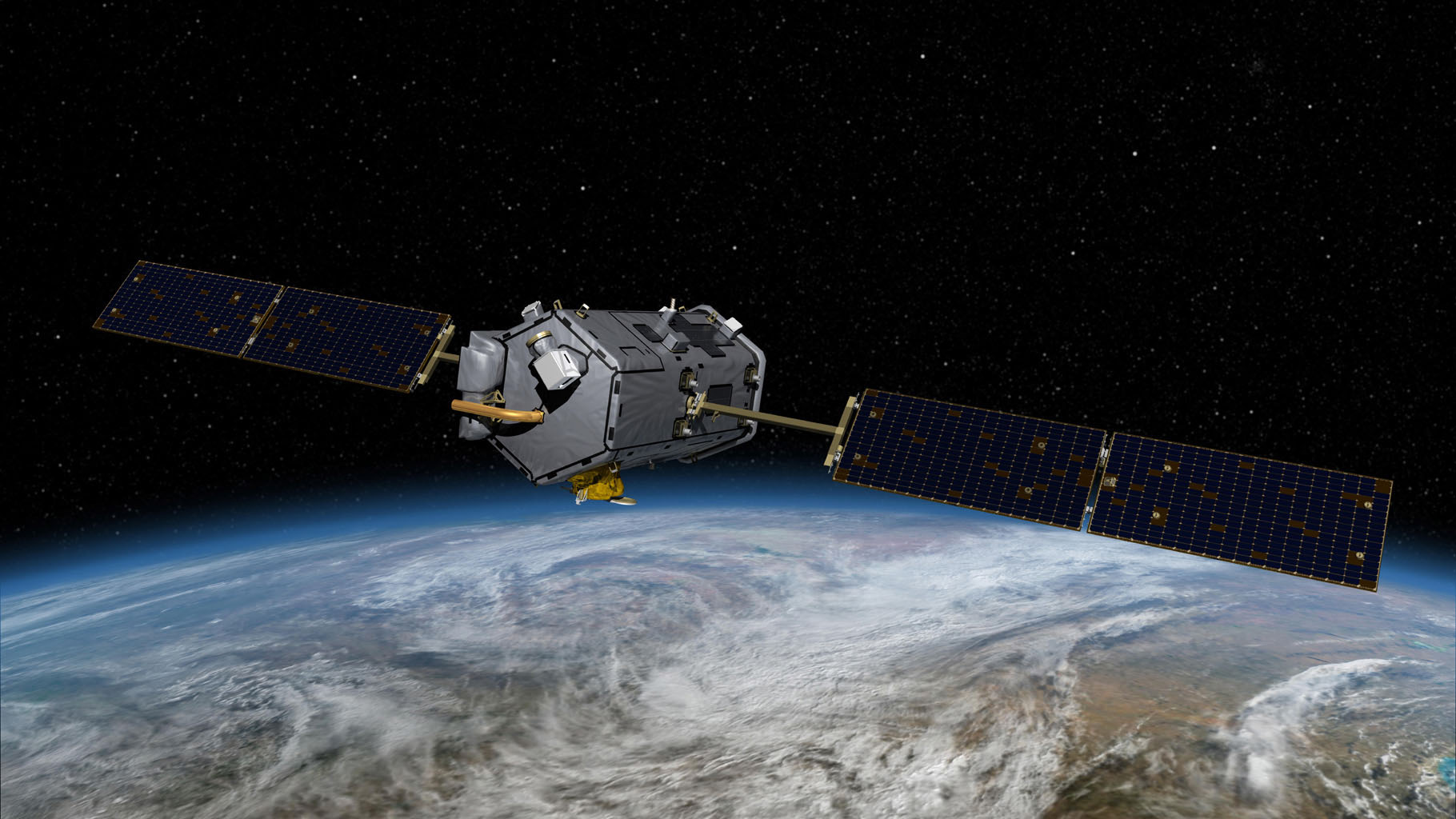 This image is an artist's concept of the Orbiting Carbon Observatory.