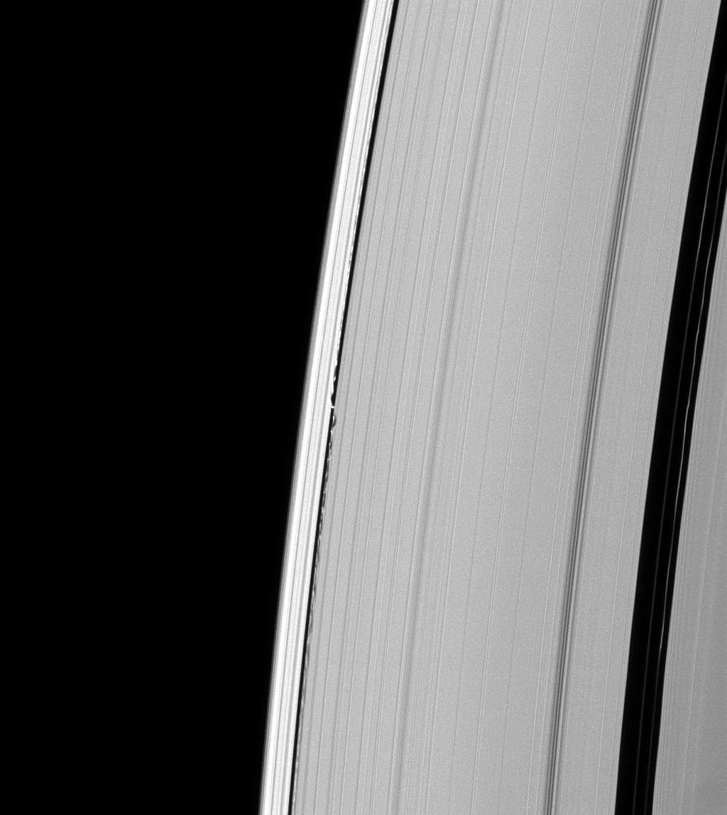 Undulations mark both sides of the path of Saturn's moon Daphnis through the A ring as seen in this image taken by NASA's Cassini spacecraft on Feb. 1, 2009.